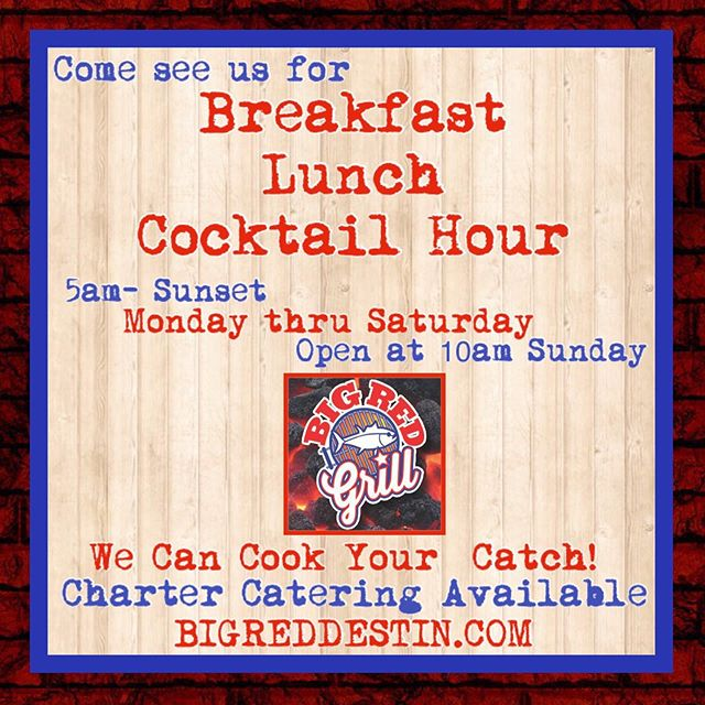🚩Now you can get breakfast at Big Red Grill SIX DAYS A WEEK!  Starting Friday we open at 5am Mon-Sat, 10am for lunch on Sundays. Summer is here, y'all! We are ready! Give em a follow at @bigredgrilldestin
