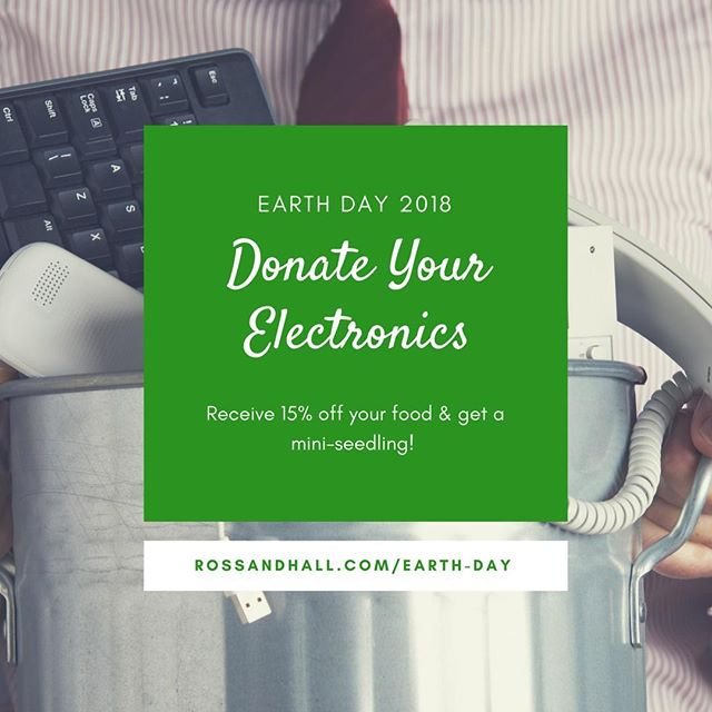 Happy Earth Day everyone!  Don't forget to bring us your electronics you want to recycle and receive 15% off your food and a mini seedling!  Remember, the item must be on the list to qualify - link is in our bio.  Bike or carpool over here and let's celebrate being green!  #rossandhall #earthday #recycling #electronicsrecycling #theonlytimeamouseiswelcome #earthday2018