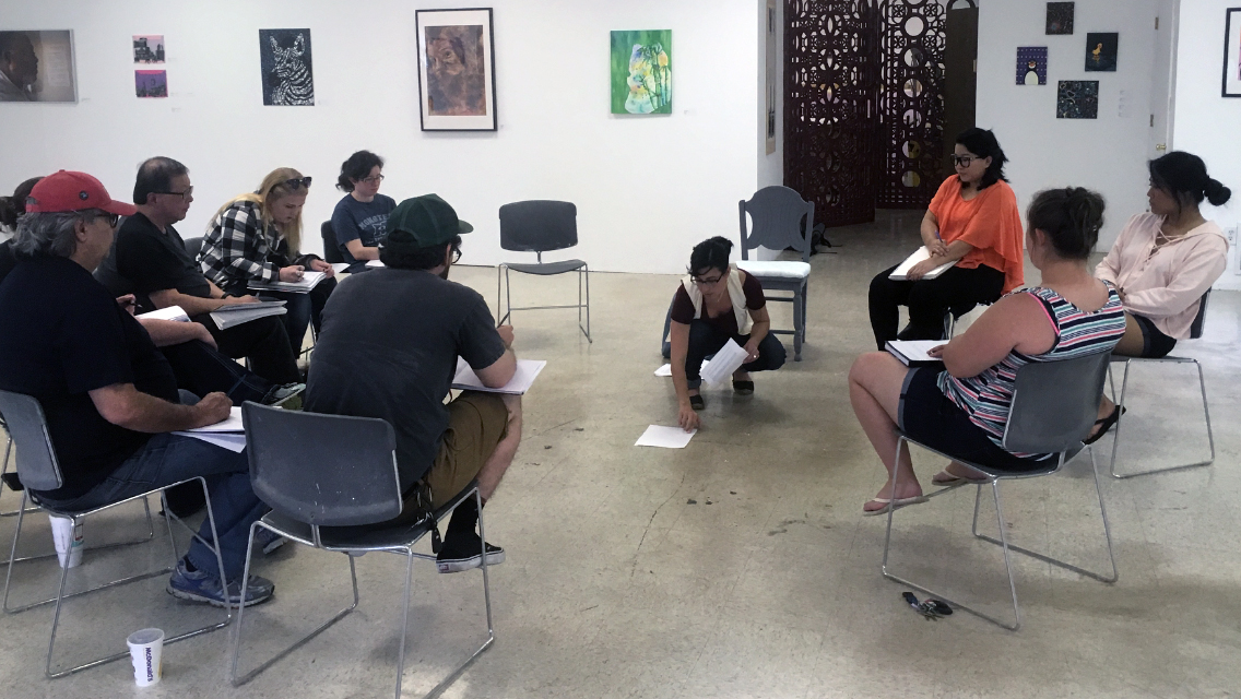 Ekphrastic Statement Writing Workshops with University of Missouri-St. Louis BFA students, Ferguson, Missouri. Photo by Mike Behle © 2017