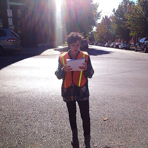 Impossible Wants  Poetry Reading after  IW  team filled potholes with poems on Cherokee St. St. Louis, Missouri. Photo by Laurencia Strauss © 2014