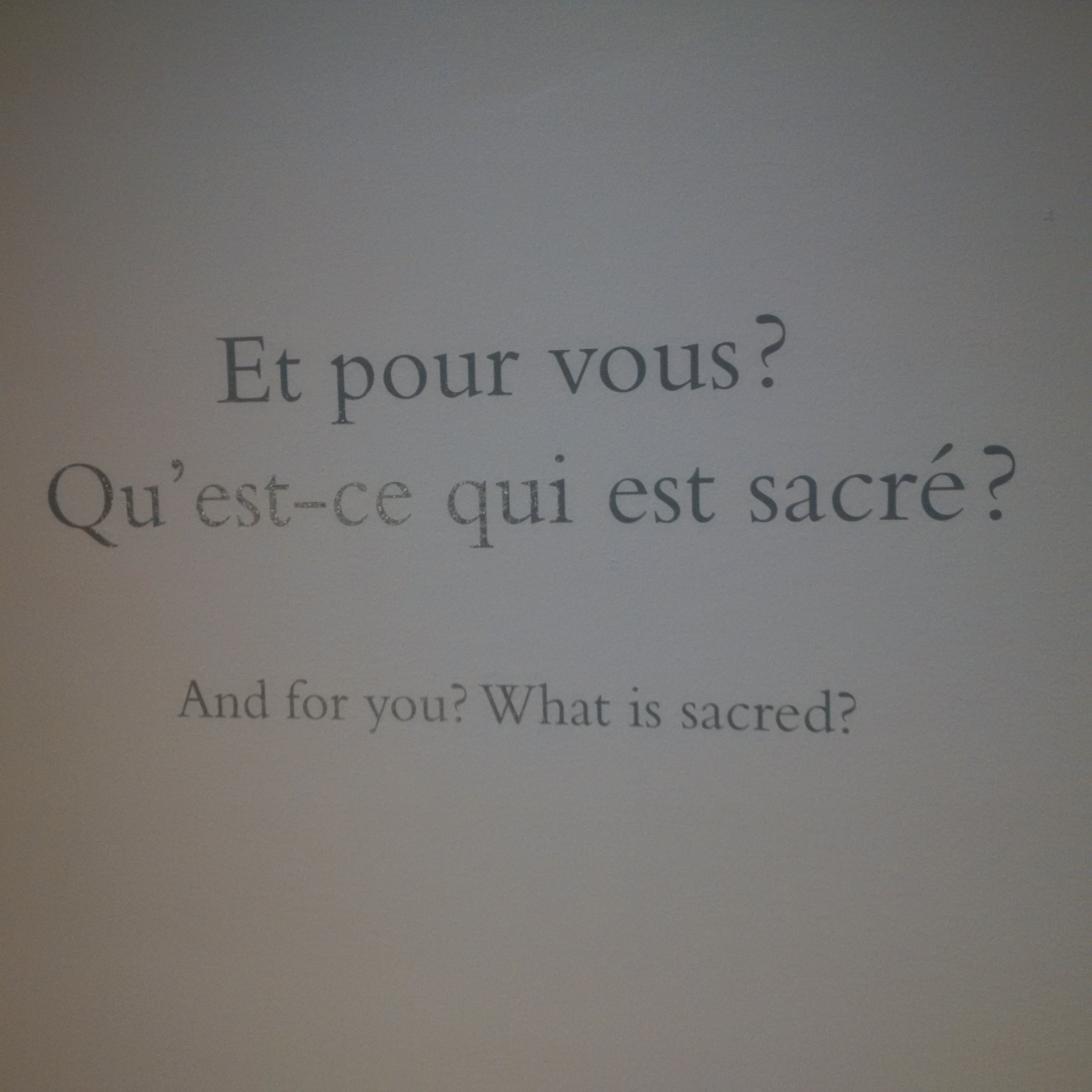And for you? What is sacred?