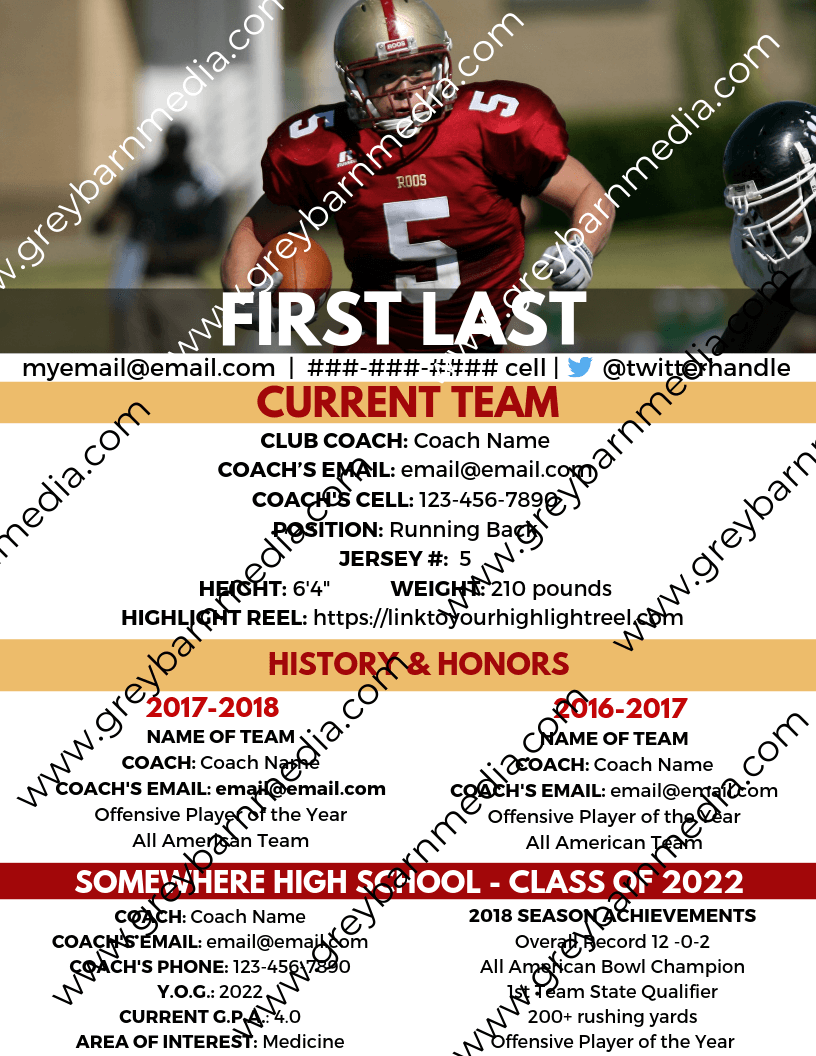 custom college football recruiting profile template 1
