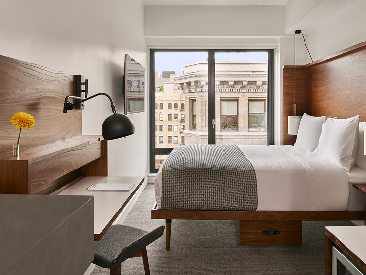 Arlo Hotels  With two New York locations, Arlo Hotels offers thoughtfully designed micro guest rooms that combine flexible, modern furniture with efficient storage spaces and a range of playful touches. Arlo Hotels value quality over quantity, creating spaces that feel naturally efficient yet inviting and hospitable