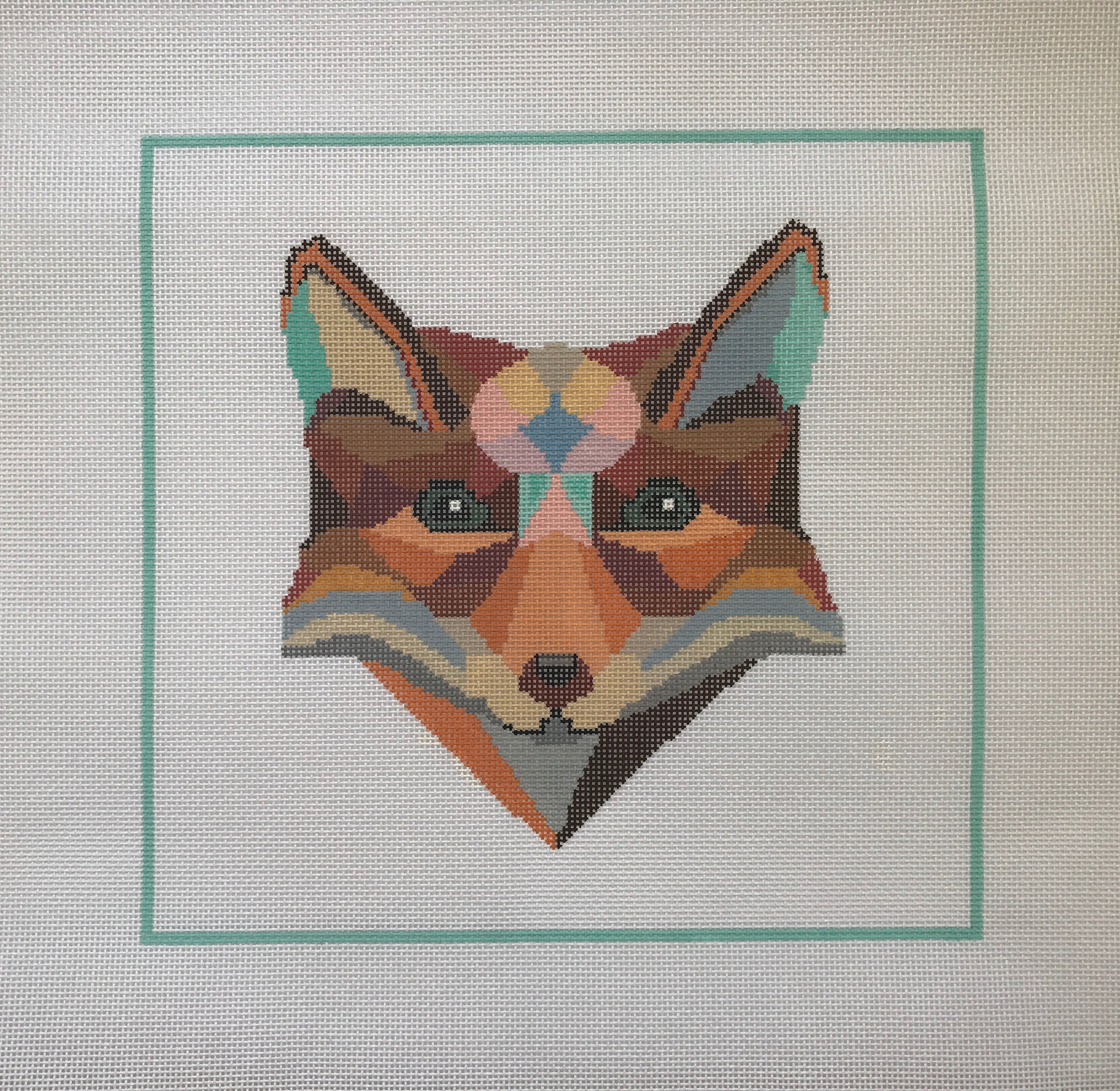 "Wily Fox - Designed by Christie Denizio(PP38) 12""W x 11""H on 13 mesh"
