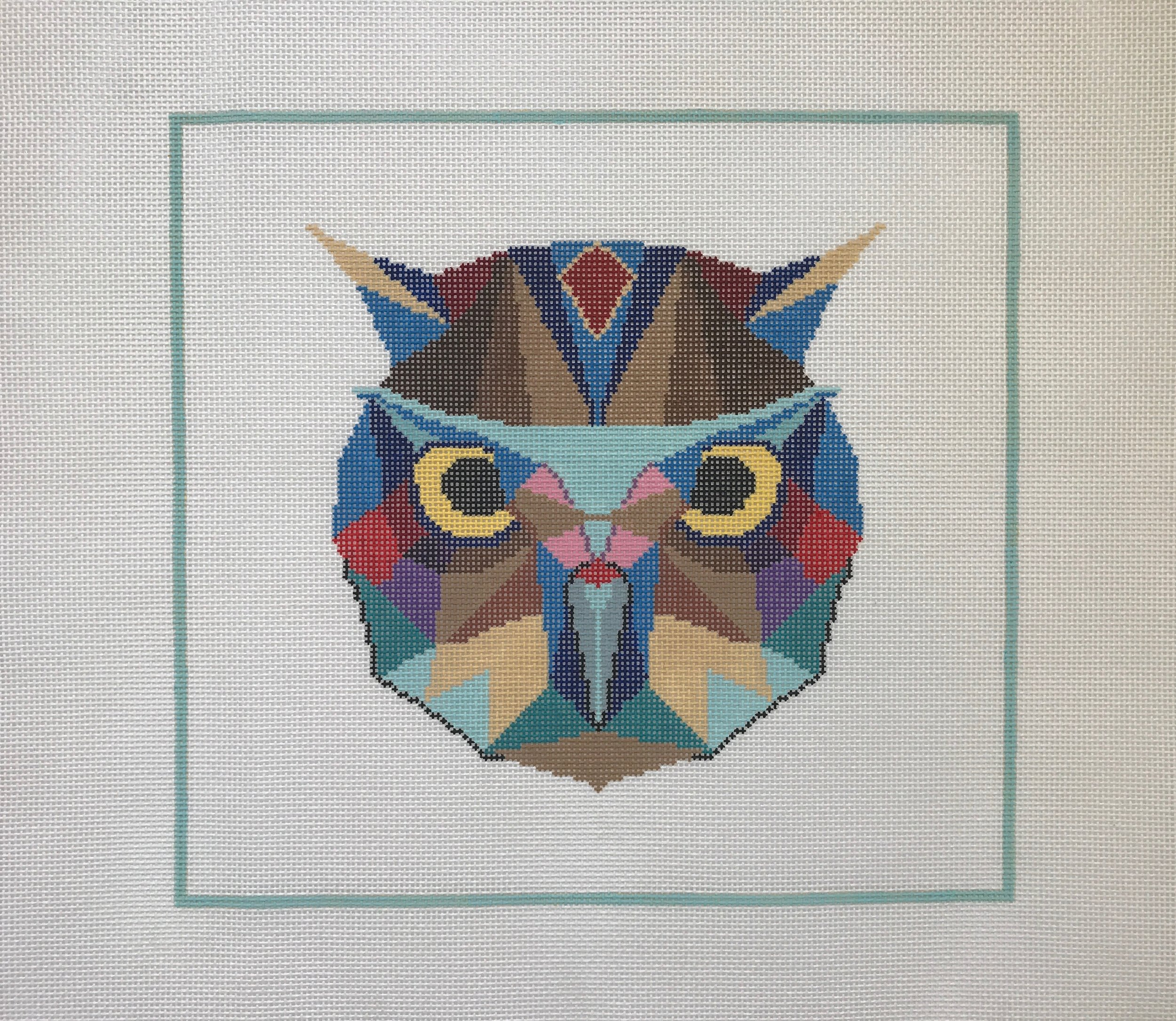 "Watchful Owl - Designed by Christie Denizio(PP39) 12""W x 11""H on 13 mesh"
