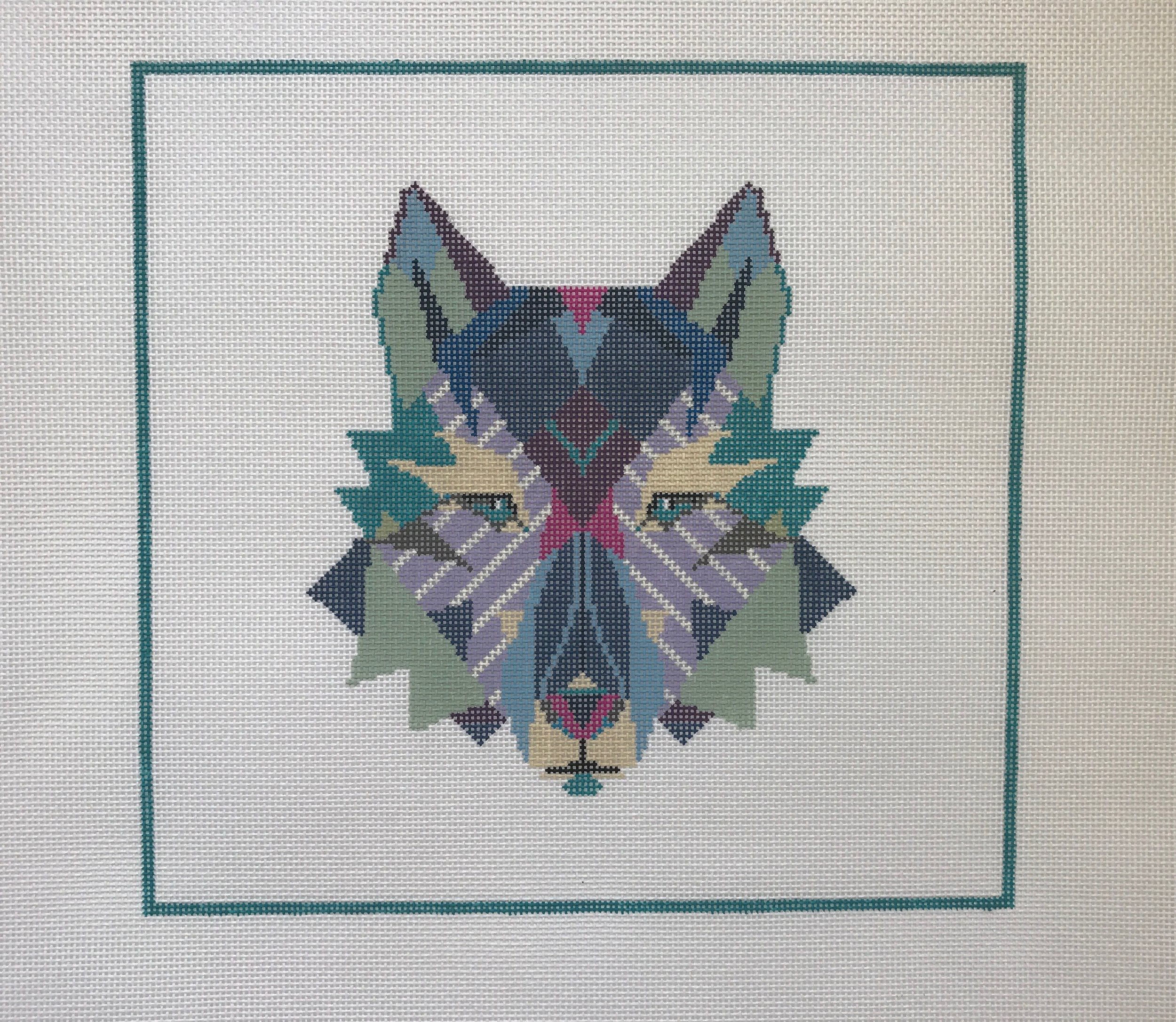 "Wandering Wolf - Designed by Christie Denizio(PP41) 12""w x 11""H on 13 mesh"