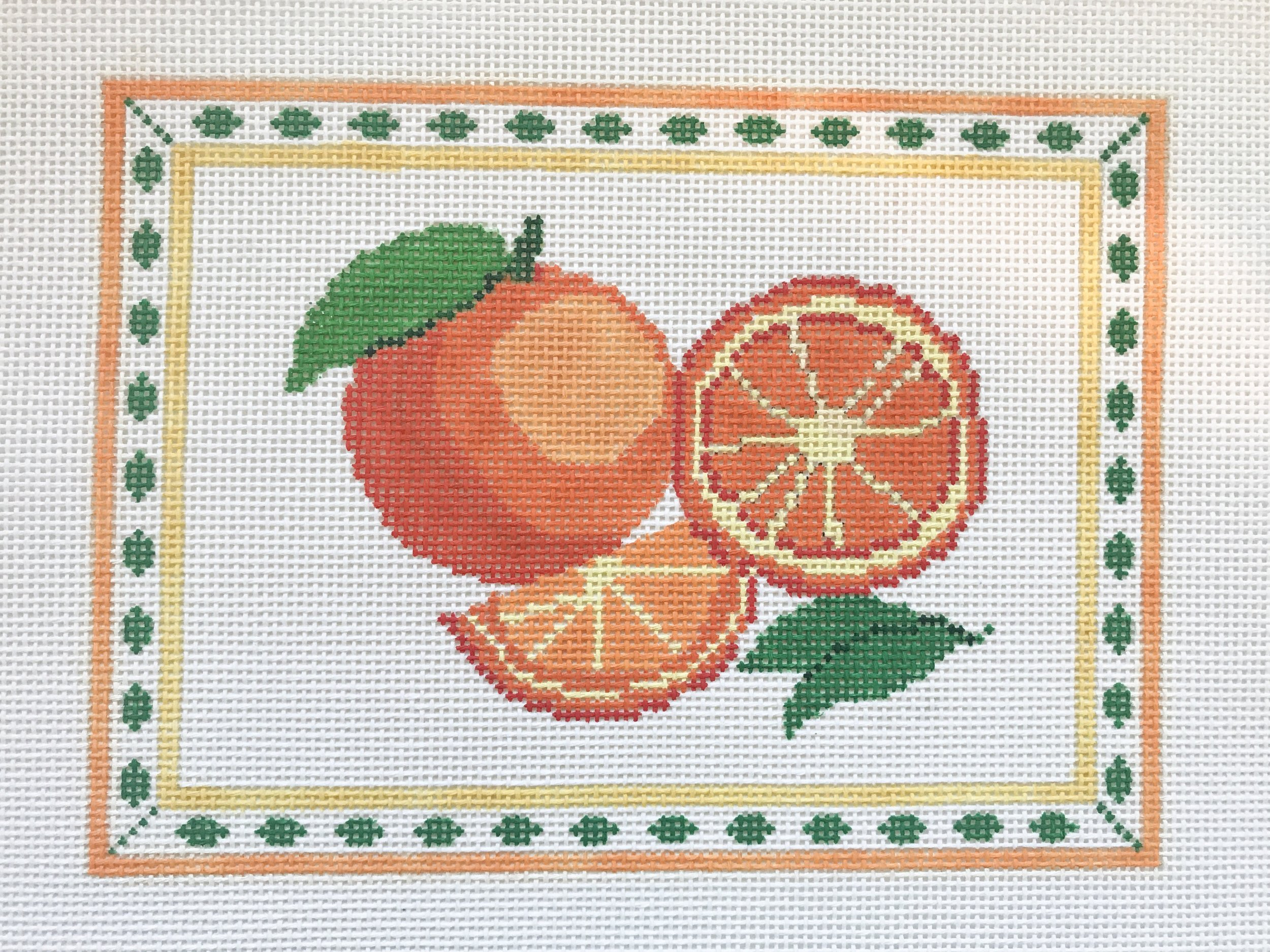 "Oranges - (PP43) 8.5""W x 6""H on 13 mesh"