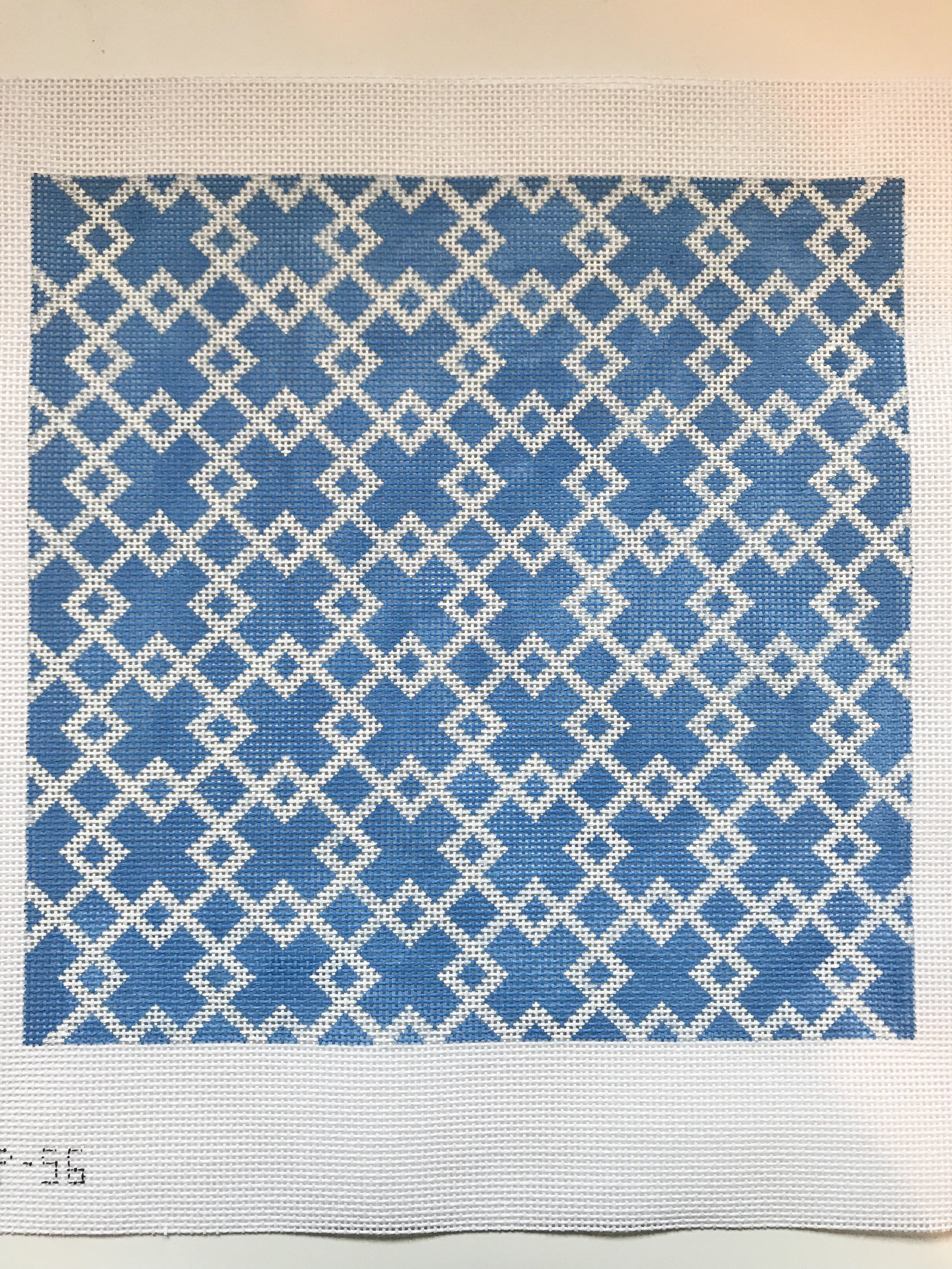 "Blue & White Geometric Pillow - (PP56) 10.5"" W x 10.5""H on 13 mesh"