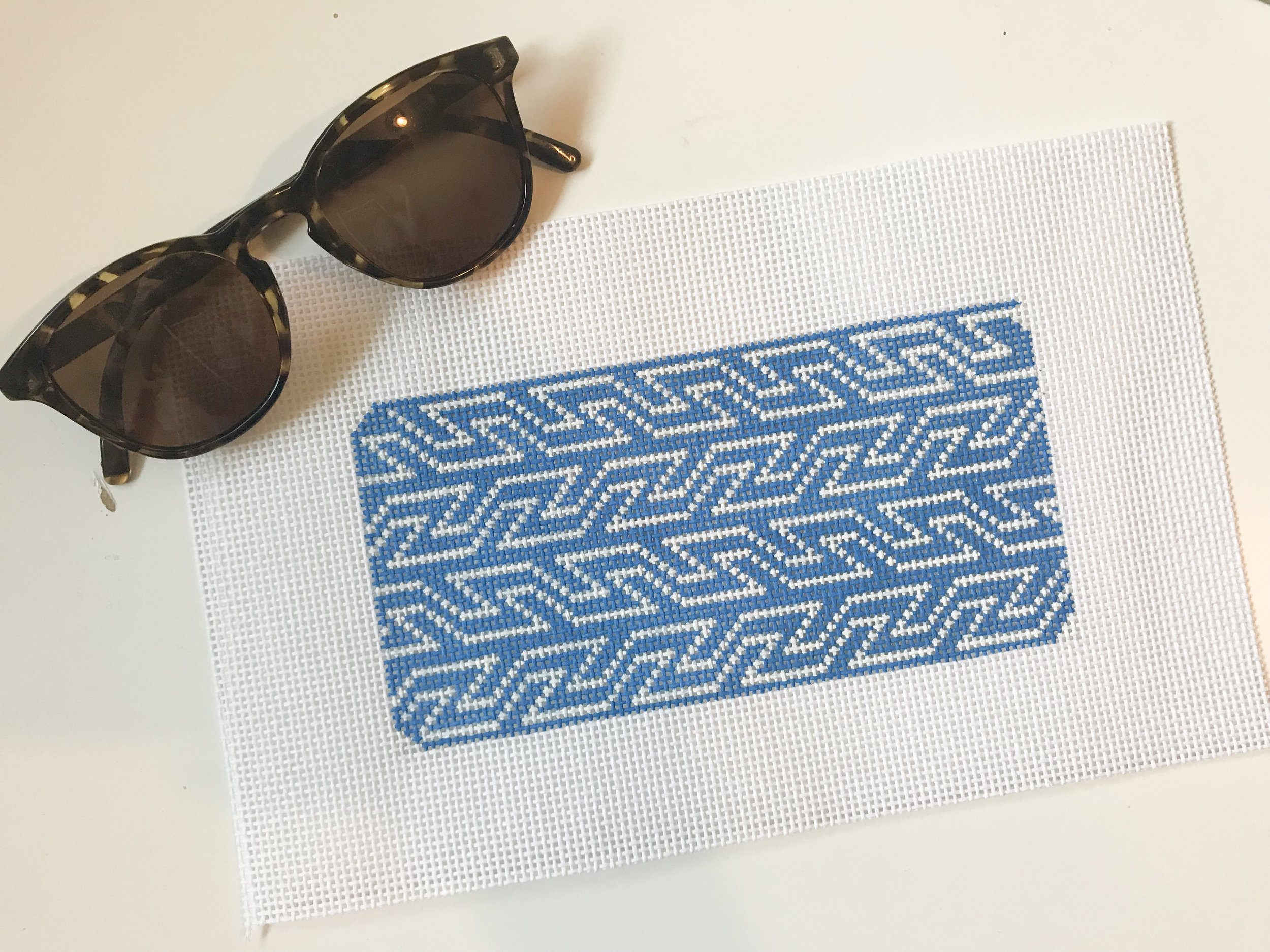 "Blue & White Geometric Sunglass Case - (PP57) 6.5""w x 3.5""H on 13 mesh"