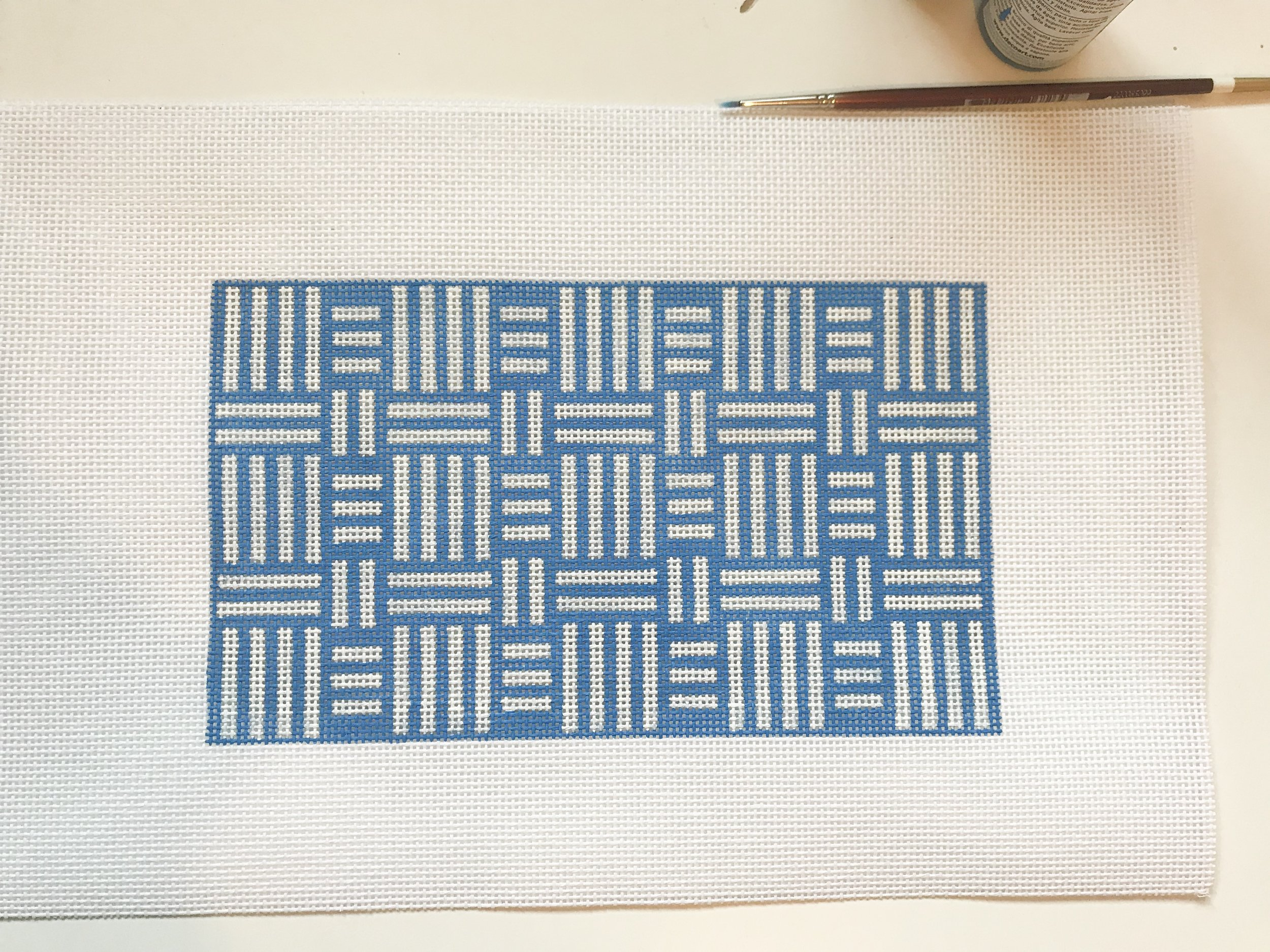 "Blue & White Geometric Clutch Bag - (PP58) 9""W x 5""H on 13 mesh"