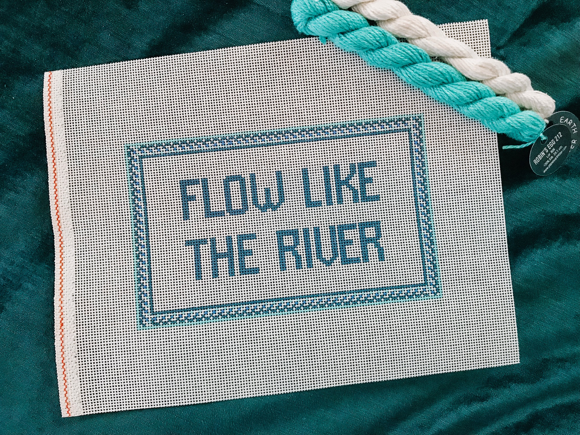 "Flow like the River - (PP59) 8.5""W x 5""H on 13 mesh"