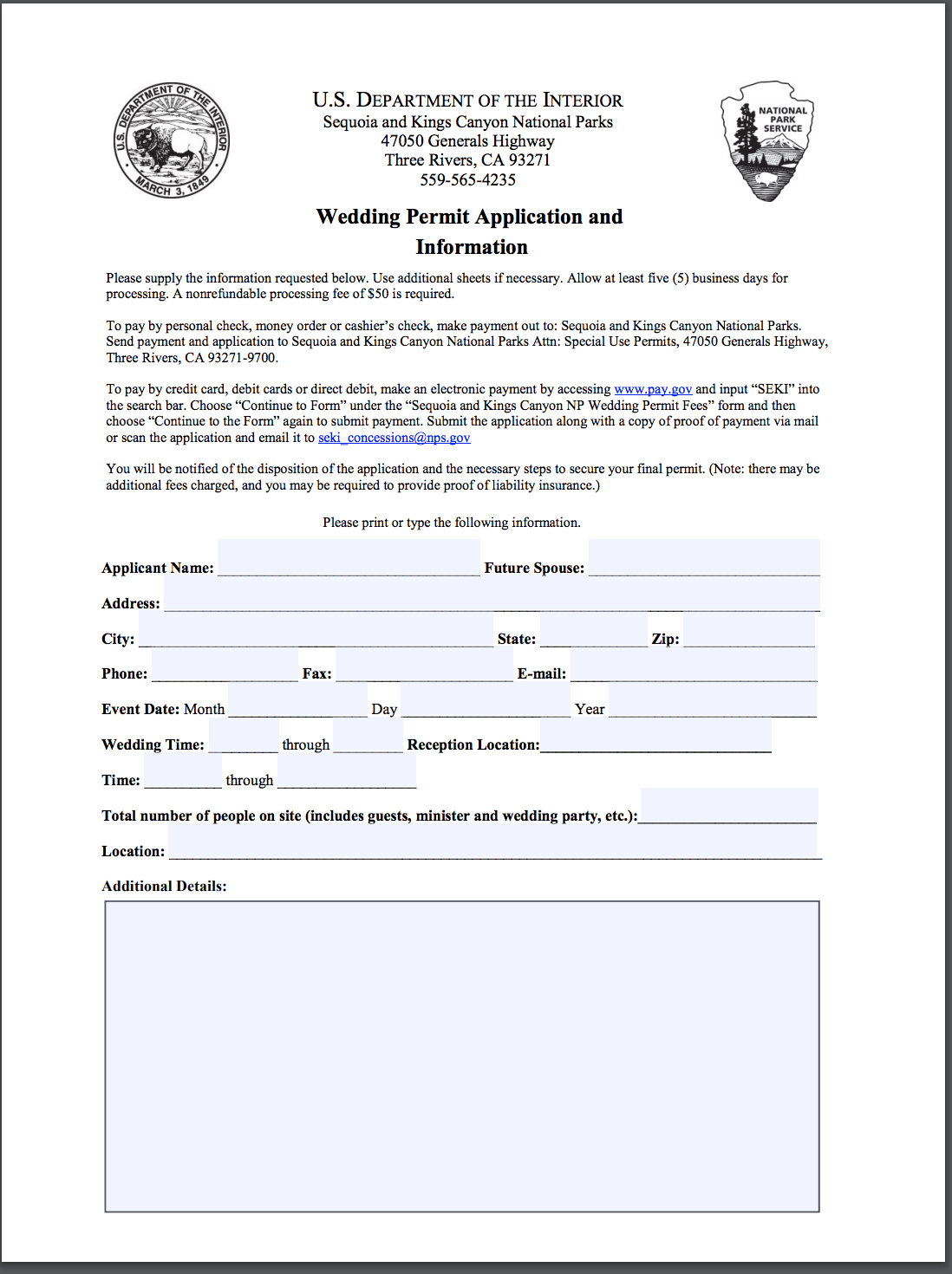 how to get a permit - 1. Go online and fill out a permit application2. Pick a date + choose your ceremony location3. Pay a small fee (online or you can send a check)4. Make sure to submit your application at least 30 days prior to your date (as it can take anywhere from 2-3 weeks for approval)5. Once confirmed make sure to print out a copy and carry it with you during your elopement day