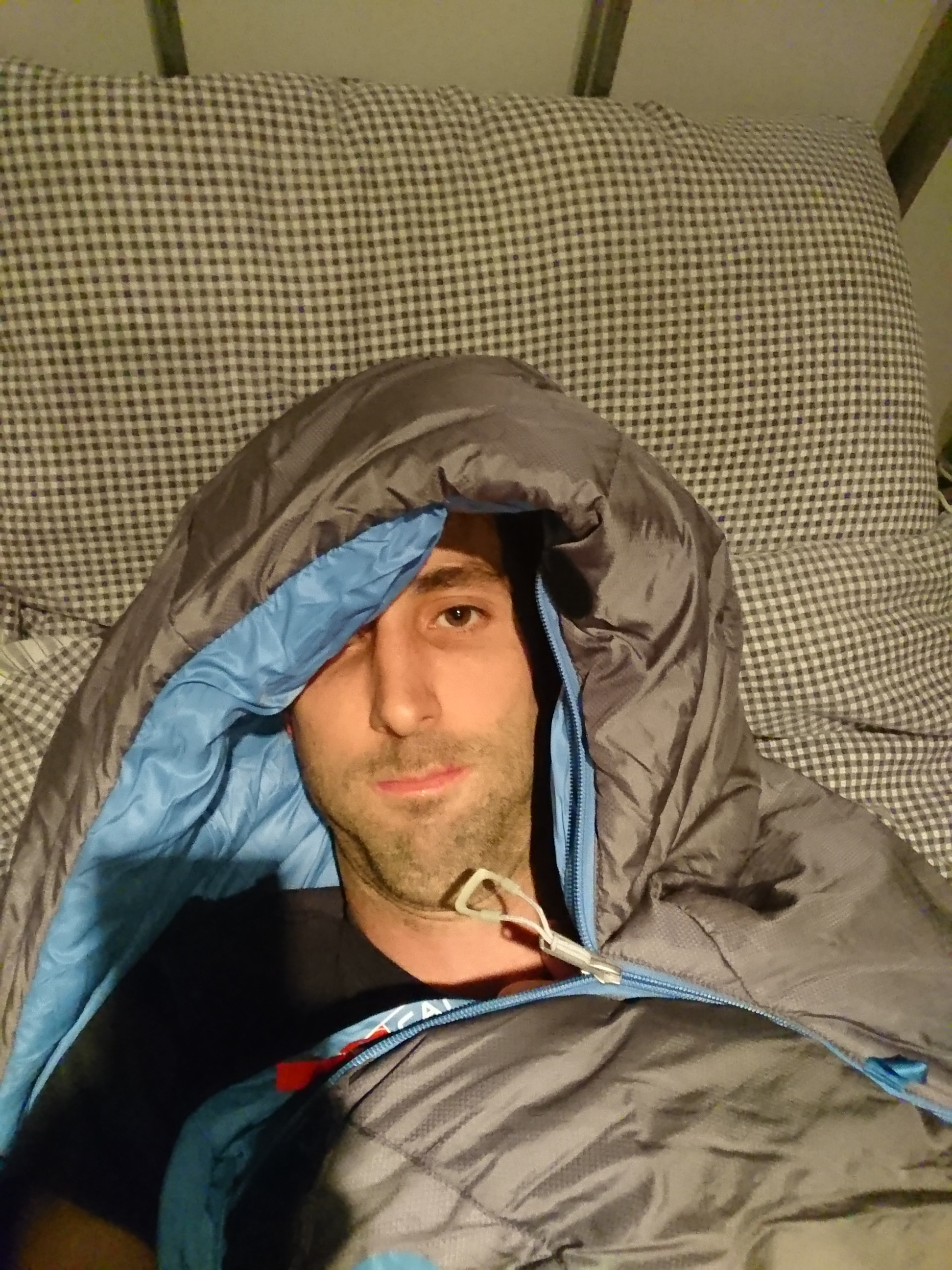 Sleeping bag selfie