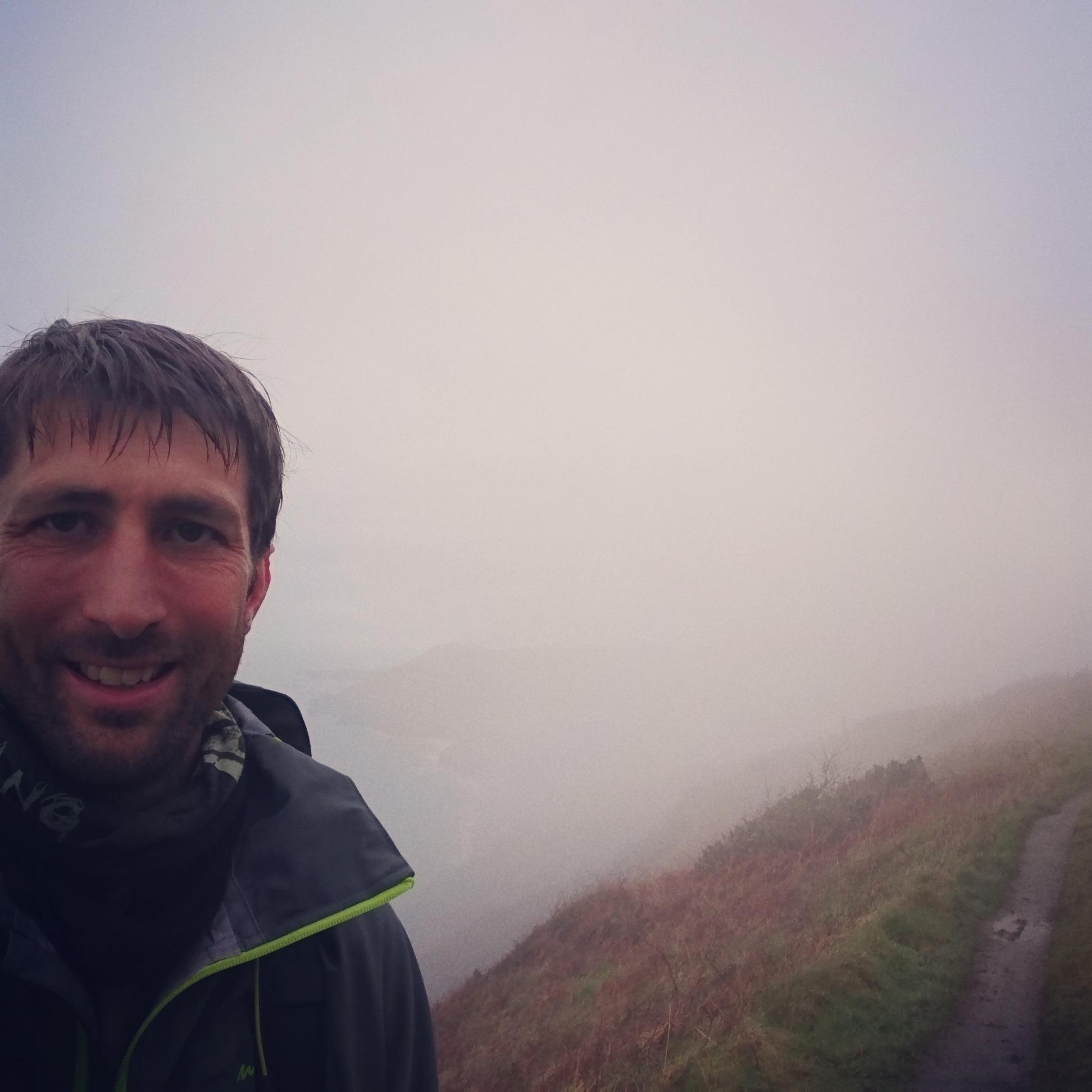Happy but Wet Hiker