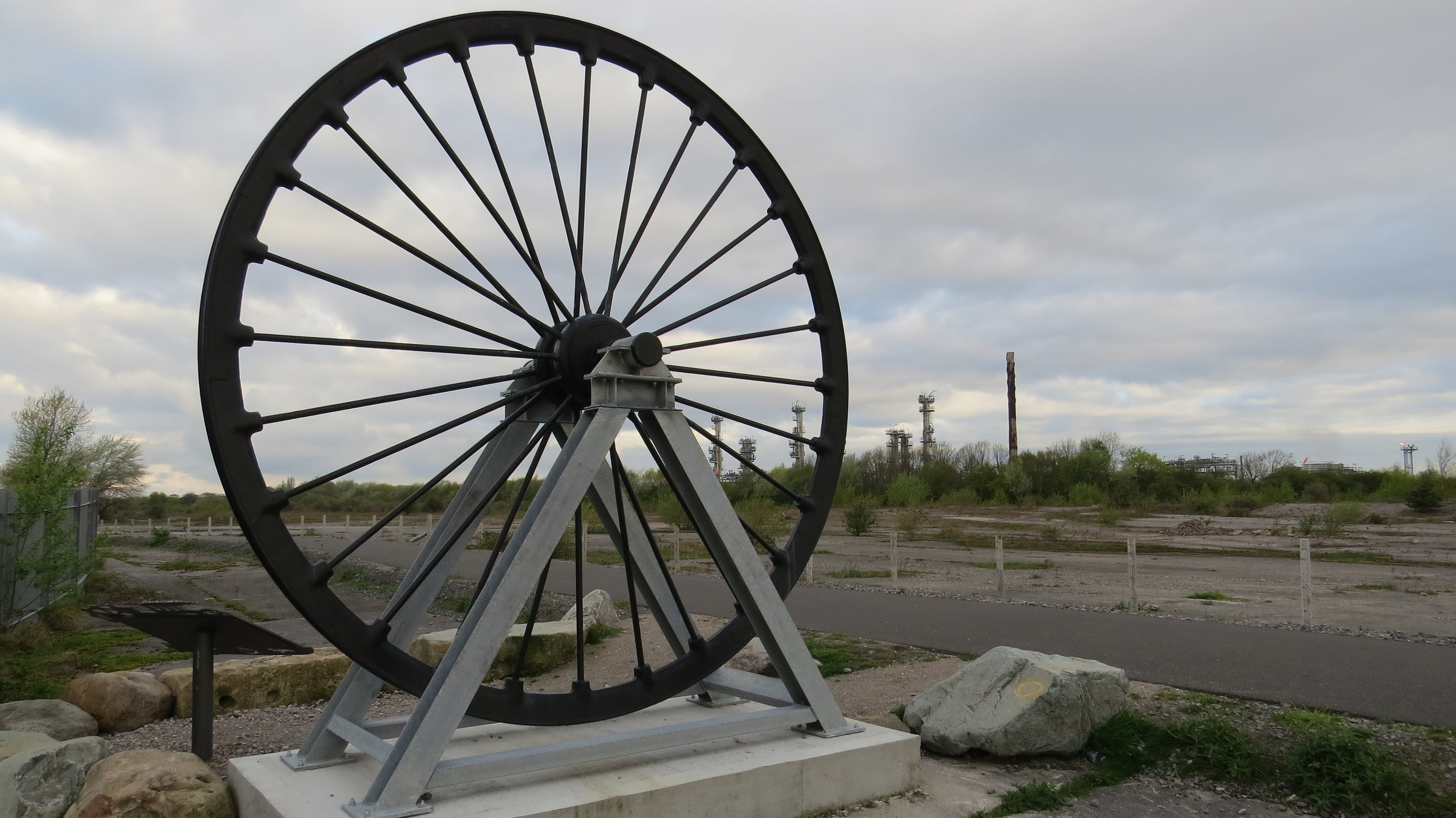Industrial Wheel in front of Gas Works