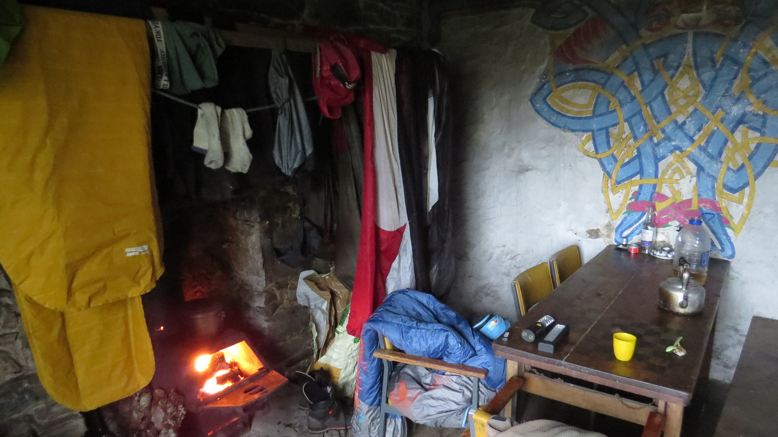 Drying stuff above Fire in Bothy