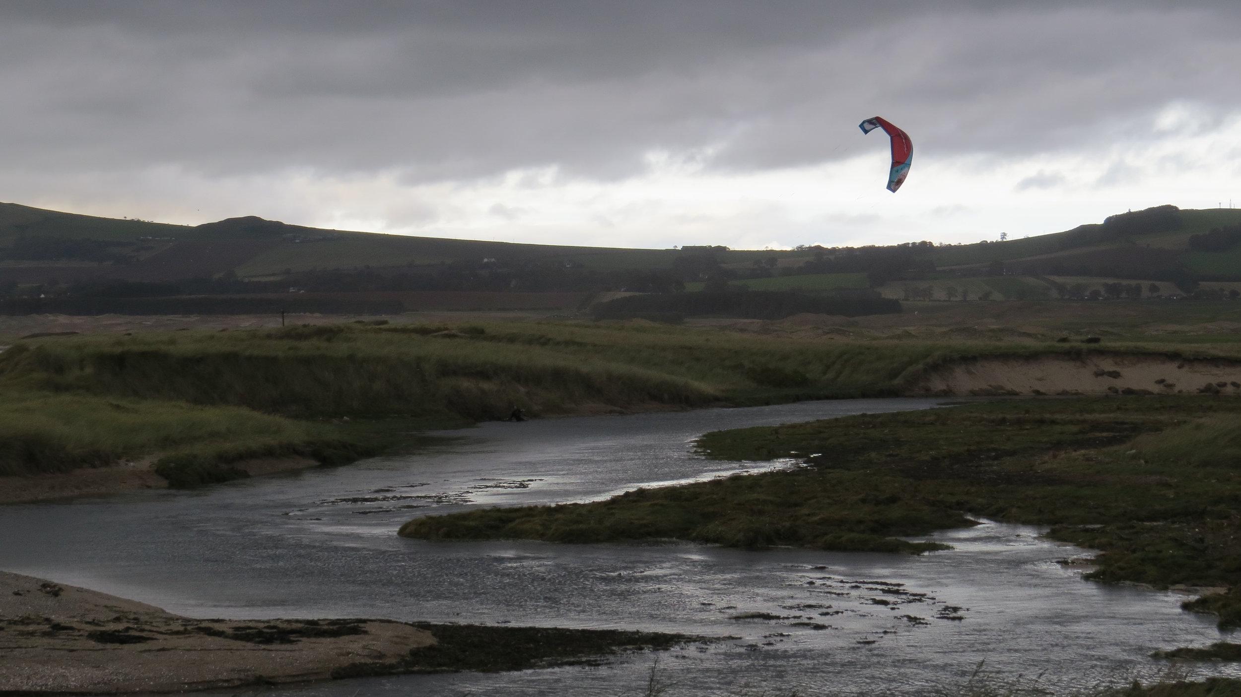 Kitesurfer in River