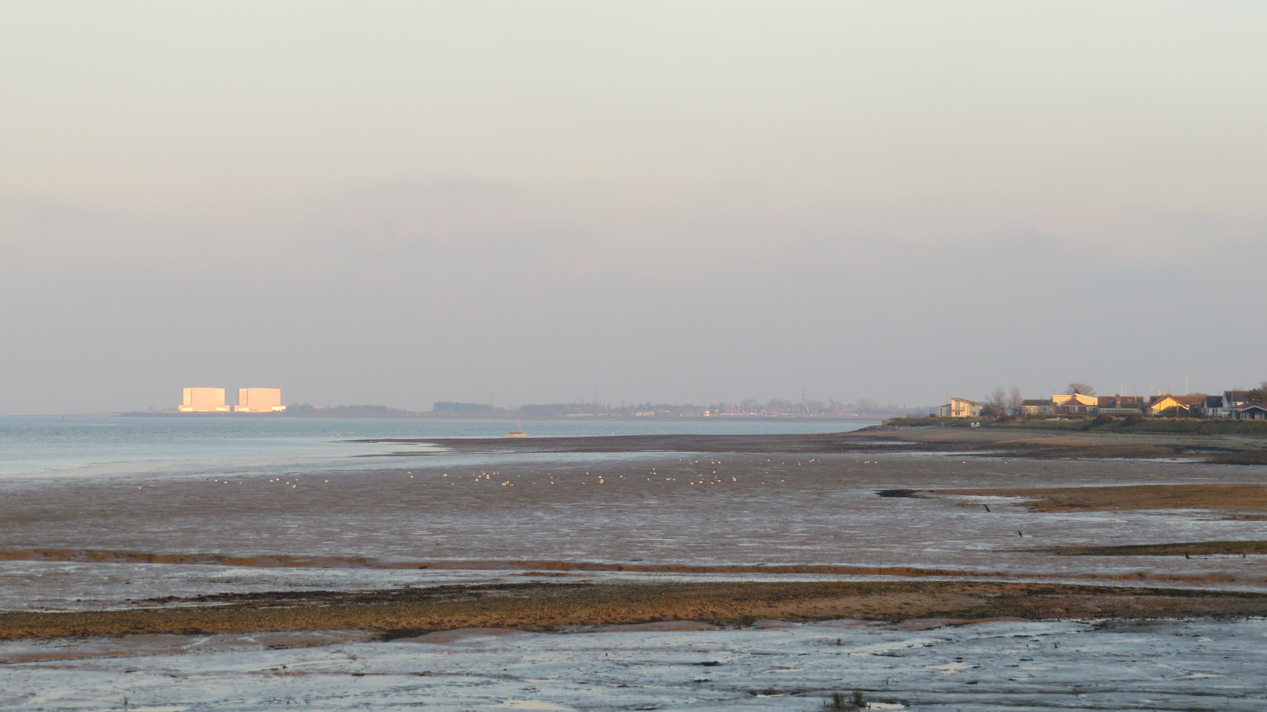 Bradwell Nuclear Power Station in Distance