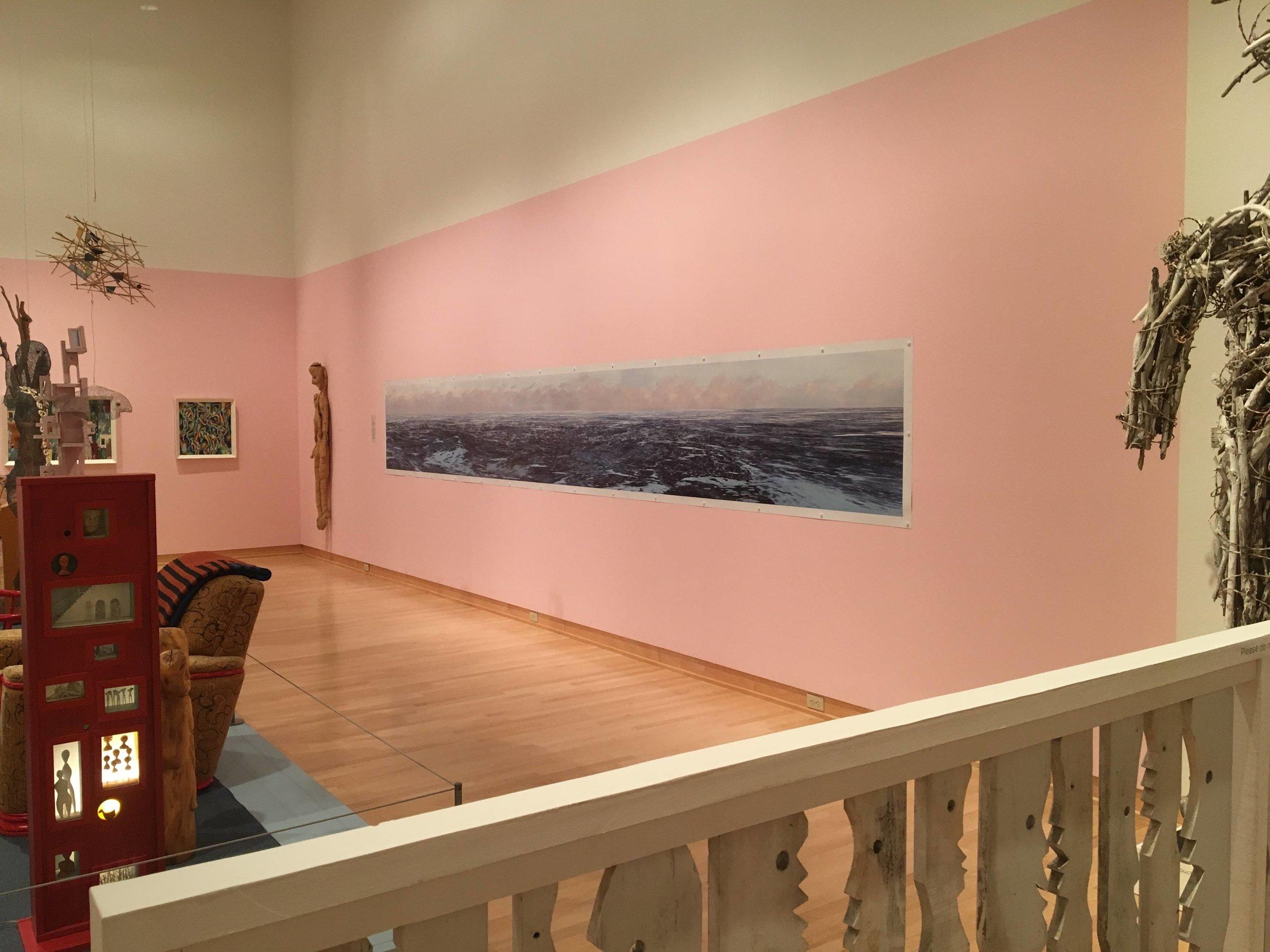 "Frozen BLUE  at Kohler Art Center: ""Greetings, Hello and Boo!: Mary Nohl,"" 20-foot horizontal photograph, 2017:Sheboygan, WI."