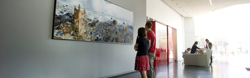 """Castle  at Madison Museum of Contemporary Art: """" Within a Stone's Throw ,"""" 20-foot horizontal photograph, 2012: Madison, Wisconsin."""