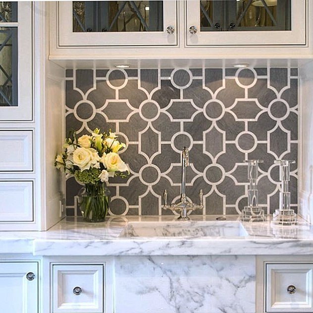 """Sweat the small stuff! A mosaic in a small space can add unique character when you least expect it."" @newravenna  Backsplash: Chatham by @sarambaldwin for New Ravenna, available through our #Minneapolis and #bozemanmontana showrooms"