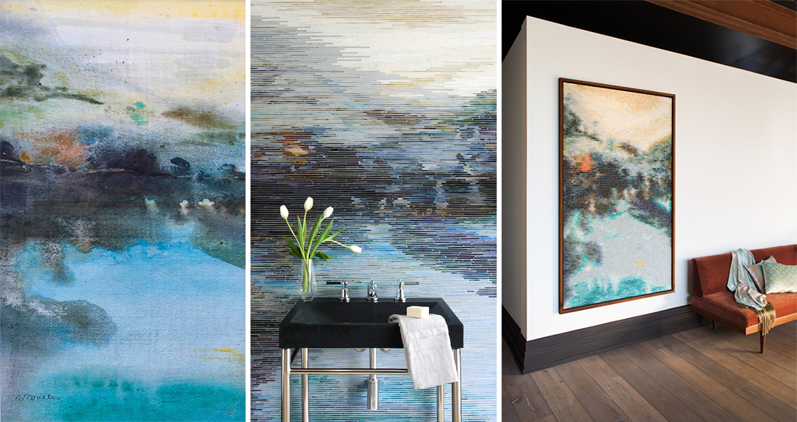 BLACK POOL , an original acrylic painting by artist Gail Miller, is the perfect blend of serene, eye-catching, and moody. For this collaboration, we interpreted her artwork into two styles of glass mosaic.