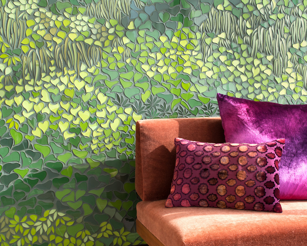 """LIVING WALL  Inspired by the lush greens used in vertical gardens, this glass mosaic """"living wall"""", designed by New Ravenna, maintains its vibrancy year-round without the upkeep requirements of live plants ( plants, we still love you )."""