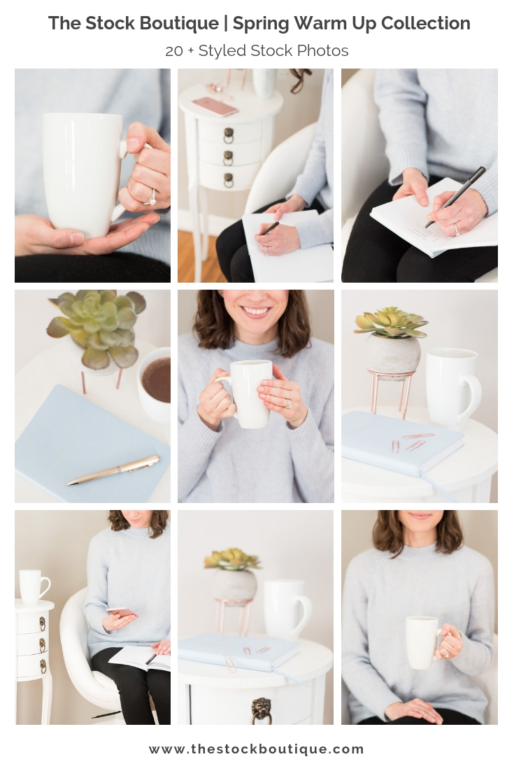 We're so excited to be sharing our latest stock photography collection  Spring Warm Up !  This collection is full of fresh whites and cozy pastel blue- the perfect entrance into the chilly early spring weather! Accented sweetly with a cute succulent, soft rose gold and a small vintage table, we know it will have your customers commenting about all the little details! #styledstockphotography