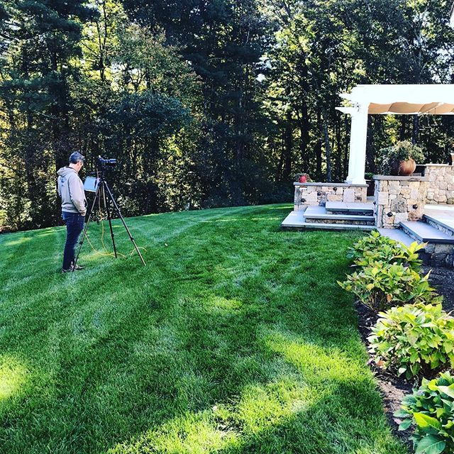 Finally getting our work professionally photographed!  Glad to have the eye of Brian Walters on such a beautiful morning. 🌳🌿📸 #newenglandlandscapes #hardscaping #walpole #oakwoodslsndscaping #designandbuild @bdw_photography