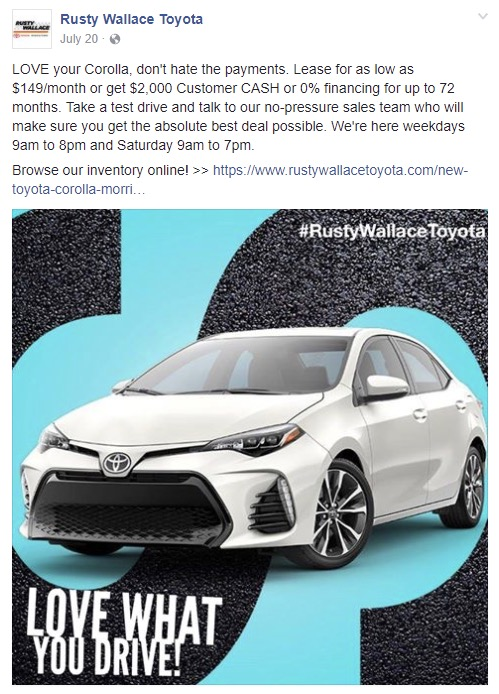 Rusty Wallace Toyota & Ford Dealerships - Managed July 2016-August 2017Raised profile of new Ford location to local audience. Social Media ad campaigns had a direct correlation to increased sales. (Source: Internal Reporting)