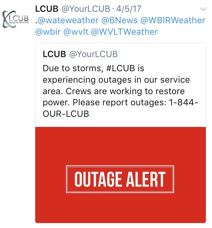 Twitter Strategy : Alert customers of Outage & Service Disruptions: Media outreach and customer engagement through #LCUB.