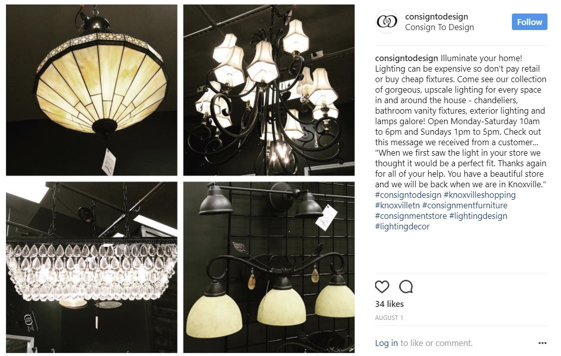 Instagram Strategy : Utilize local shopping and affinity hashtags to increase foot traffic to the store.