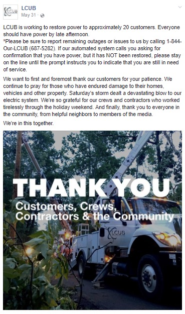 Engagement Strategy:  Create positive sentiment with utility customers during and after outages.