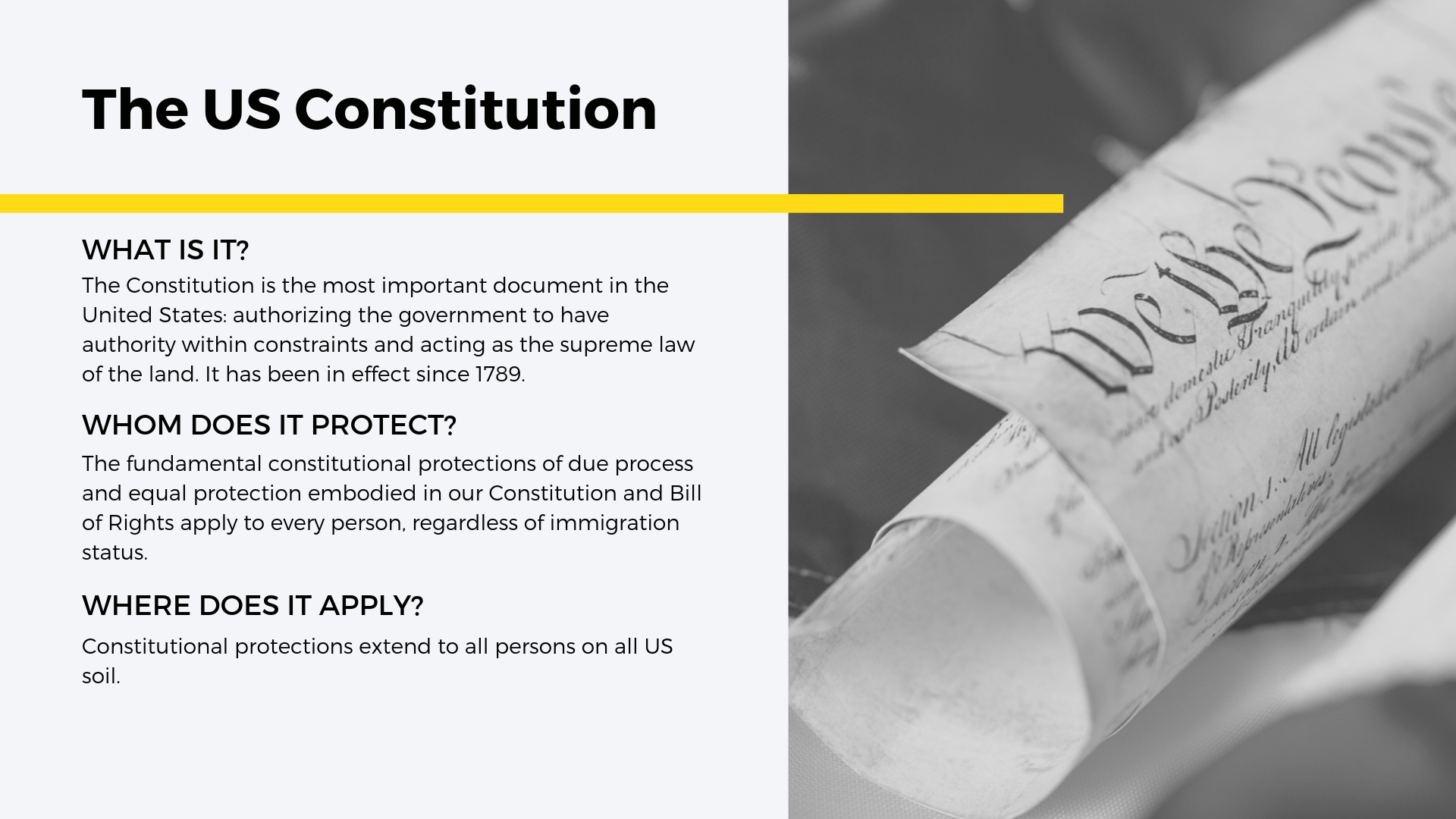 1. The United States Constitution - The United States Constitution is the most important document in the United States, authorizing the government to have authority within constraints and acting as the supreme law of the land. Enshrined within this document are the rights that we all enjoy, and it is the document that acts as the ultimate authority within all US jurisdictions upon all people within those jurisdictions—immigrant, refugee, asylum seeker, citizen, or even people without formal documentation.