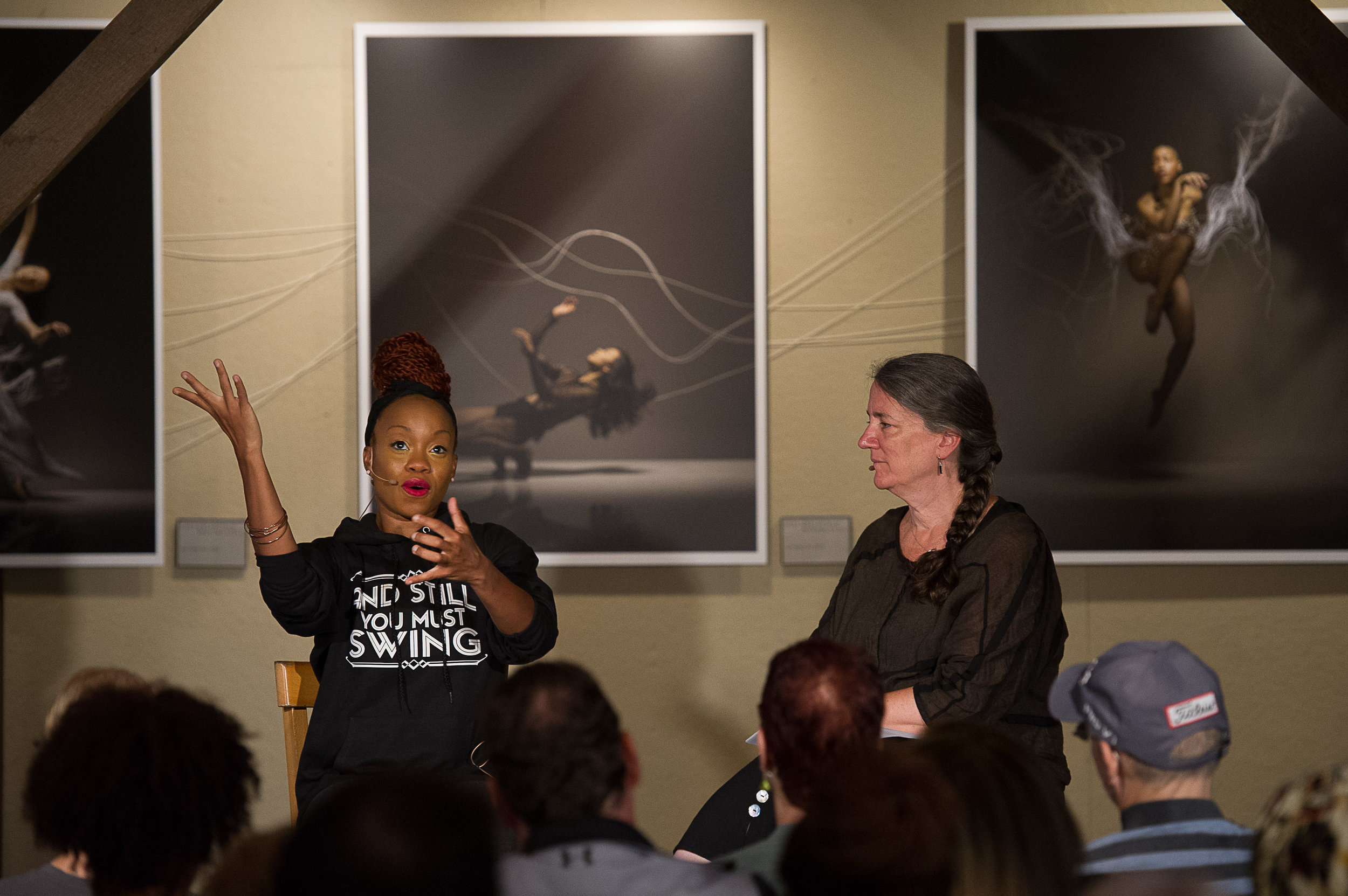 Maura Keefe interviews Camille A. Brown. Photo by Christopher Duggan.