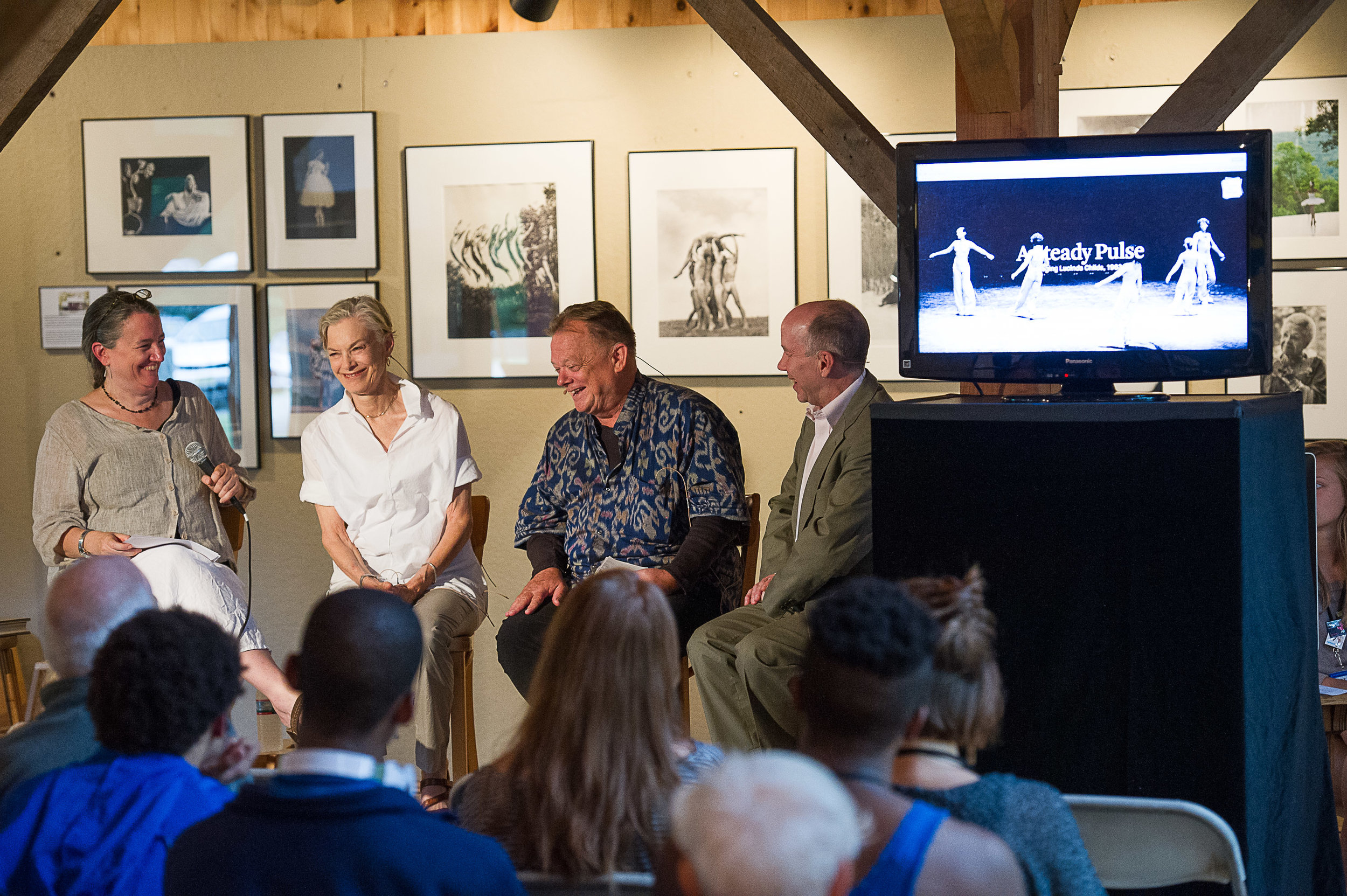Photo of Maura, Lucinda Childs, Bill Bissell (Director of Performance, Pew Center for Arts and Heritage) & Norton Owen (Jacob's Pillow, Director of Preservation) by Christopher Duggan.
