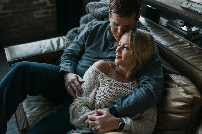 Intimate couple session in San Antonio home