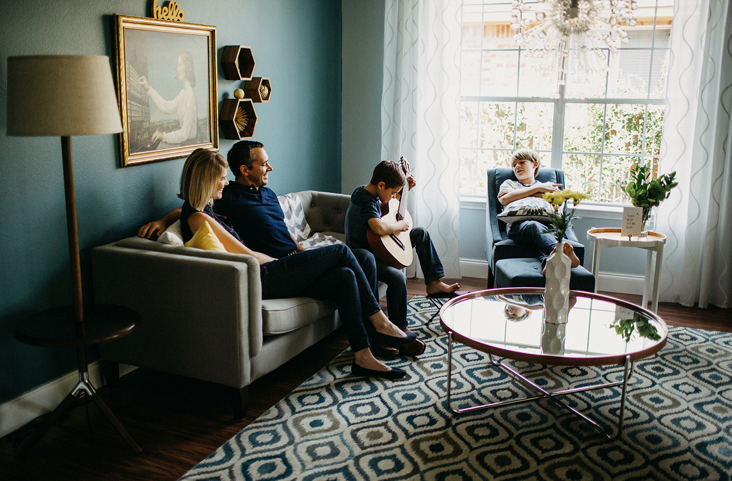 In home lifestyle photography of San Antonio family