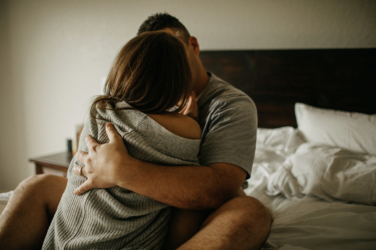 In home lifestyle session of intimate couple