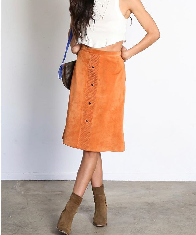 Vintage Gucci for under $100?! Say whaaaat! 70's suede Gucci skirt online (and on sale) now :)