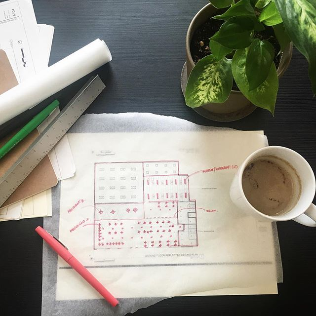 Starting off the week with a cup of coffee and trace! ☕️ . . . . #rdmnt #projectkickoff #interiordesign #interior #architecture #mondaymorning