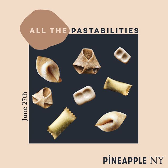 "the pasta-bilities are endless 🍝 join #pineapple NY on June 27 for a hands-on pasta-making workshop with @pastasocialclub where we'll knead, shape, twirl and taste our way to perfectly al dente noodle know-how 💫 come ready to talk carbs, the ""contemplative precision"" of pasta-making & why perfect-looking food is overrated 🤷‍♀️ ⠀⠀⠀⠀⠀⠀⠀⠀⠀ also on the menu: delish tomato sauce made with @muttipomodorousa to pair with your fresh pasta & more Italian bites courtesy of @caviar 💕 grab tickets while you still can (they're going fast) via link in bio"
