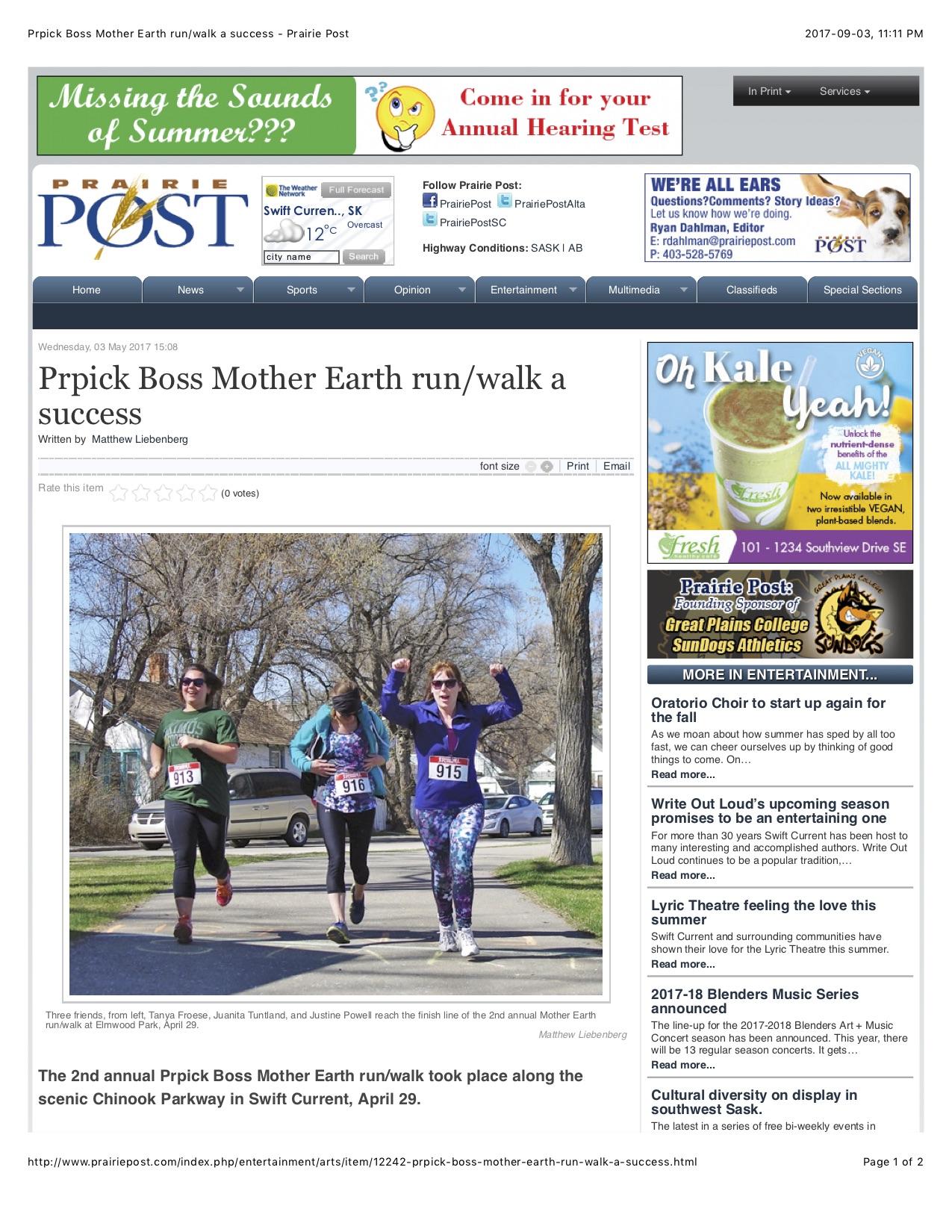 Prpick Boss Mother Earth run:walk a success - Prairie Post.jpg