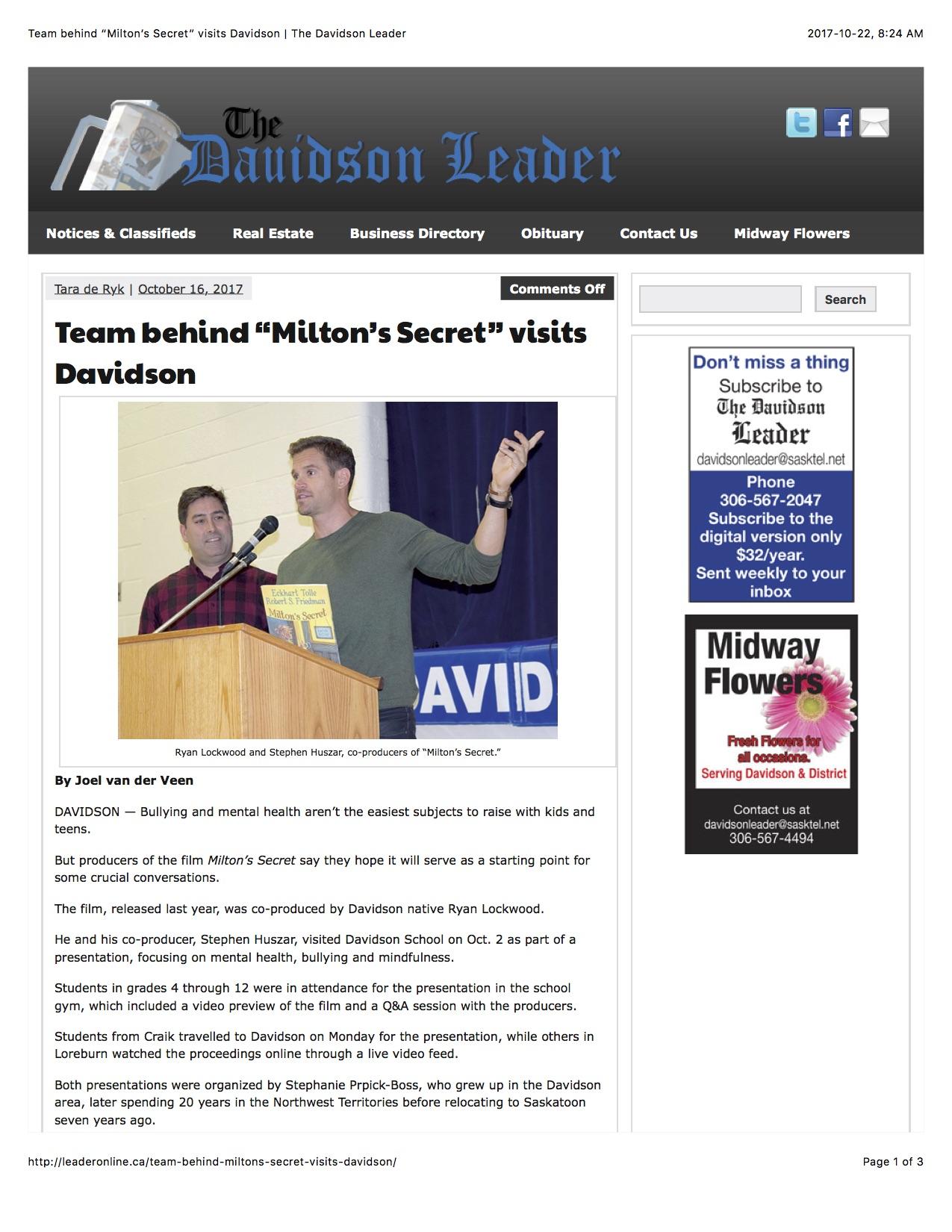 "Team behind ""Milton's Secret"" visits Davidson | The Davidson Leader (on their FB page).jpg"