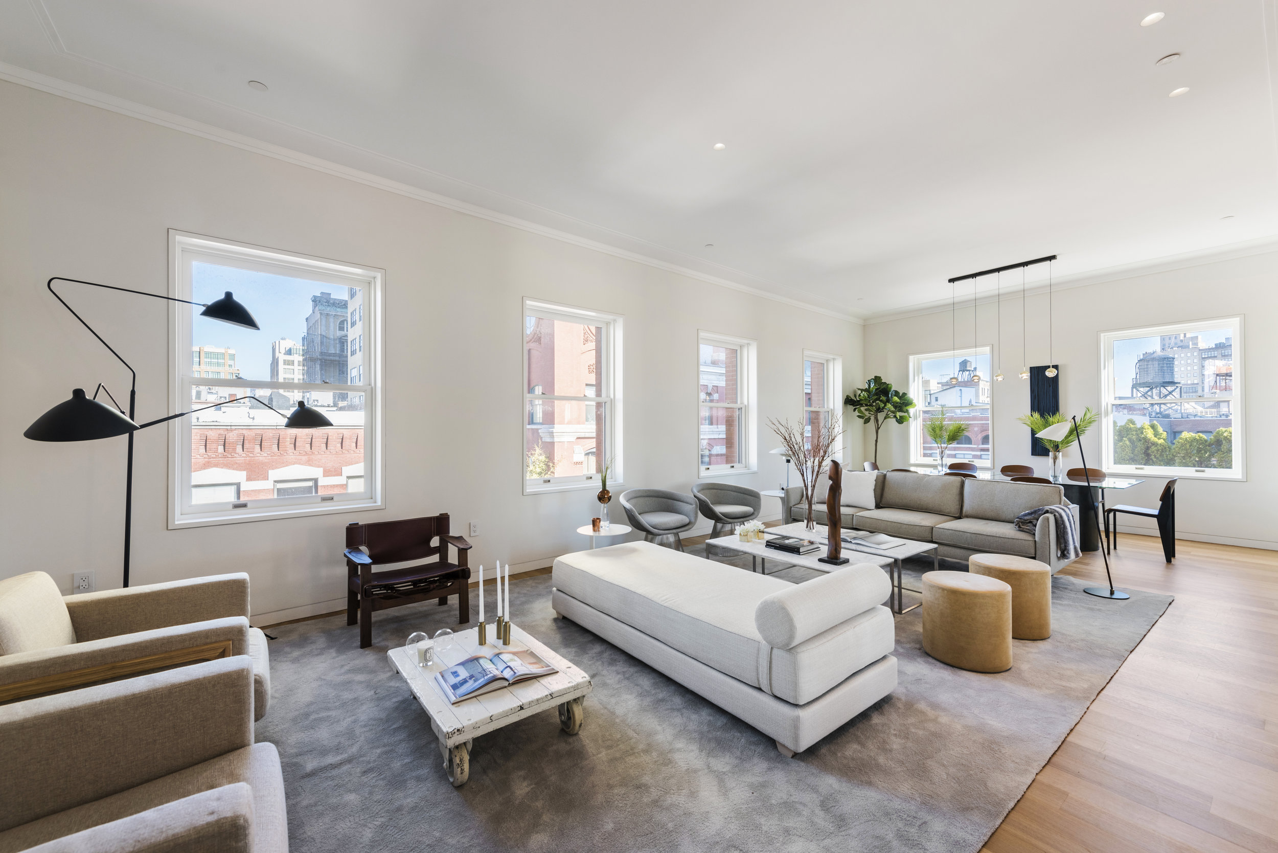 7 Harrison Street: 7N - $6,990,000 // 3 Beds // 3 Baths // 2,205 SQFT A flawless corner condo with open views in Tribecas's most exclusive condominium building, this amazing 3-bedroom, 3-bathroom is a blend of pre-war charm and modern luxury.