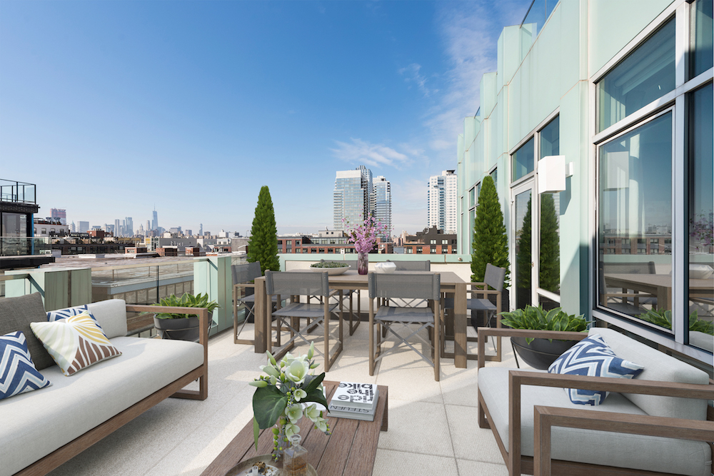 101 North 5th Street: 6A - $1,850,000 // 2 Beds // 2 Baths // 1,155 SQFTThis unique home boasts spectacular skyline views from two separate terraces and walls of oversized windows with both north and south exposures.