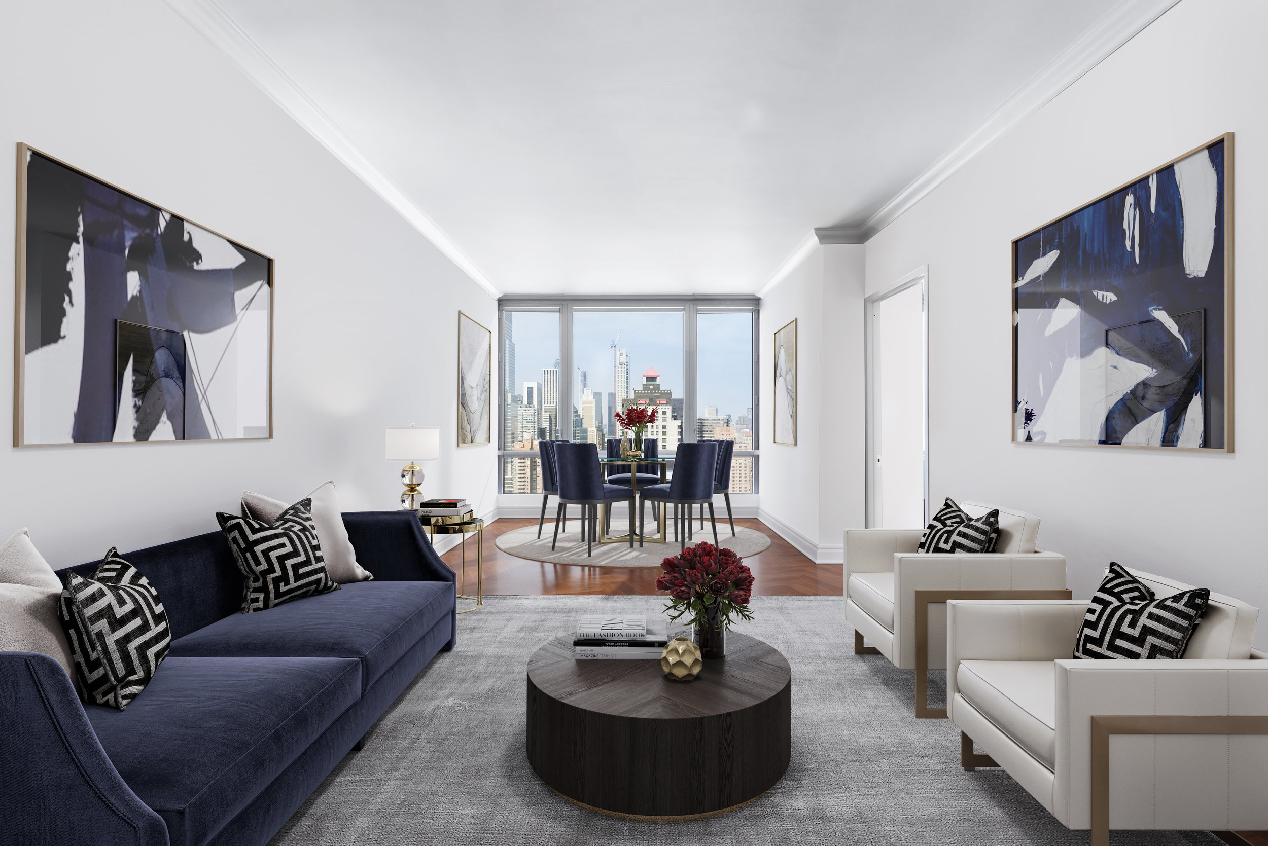 401 East 60th Street: 36B - $1,995,000 // 2 Beds // 2 Baths // 1,160 SQFTOverlooking Central Park with spectacular city skyline views from every room; 36B is a breathtaking residence featuring 10ft+ ceilings, floor-to-ceiling windows, & hardwood floors
