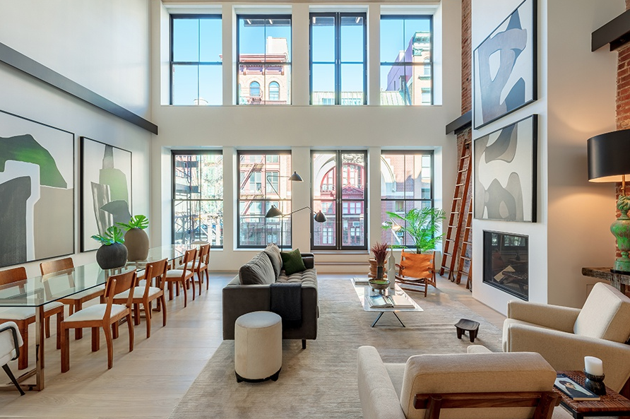 41 GREAT JONES STREET, DUPLEX - $15,000,000 // 3 Beds // 3.5 Baths // 4,235 SQFT // 167 EXSFBlending contemporary lines with traditional urban charm, this stunning 3-bedroom, 3.5-bathroom duplex condo unfurls a bespoke collection of high-end finishes across a thoughtful, open plan layout. Features of this 4,235 sq. ft. home include 10-inch wide European oak floors, a soaring 21-ft double-height ceiling in the living area, exposed brick detailing, a pair of private balconies, a home office, an in-home washer/dryer, and a private keyed elevator entrance.