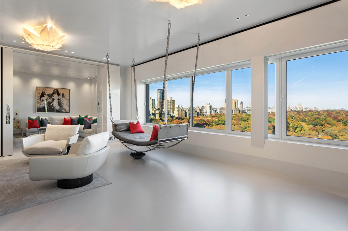 106 CENTRAL PARK S, 21ABE - RENT $55,000 // 4 Beds // 4.5 Baths // 5,450 SQFTA palatial designer condo with breathtaking Central Park views and an array of custom finishes, this one-of-a-kind 4-bedroom, 4.5-bathroom rental is an exemplar of contemporary city luxury. Features of this 5,450 sq. ft. apartment include polished urethane floors, custom lighting, integrated murals, central heating and cooling, new plumbing, in-home washers/dryers, and triple exposure.
