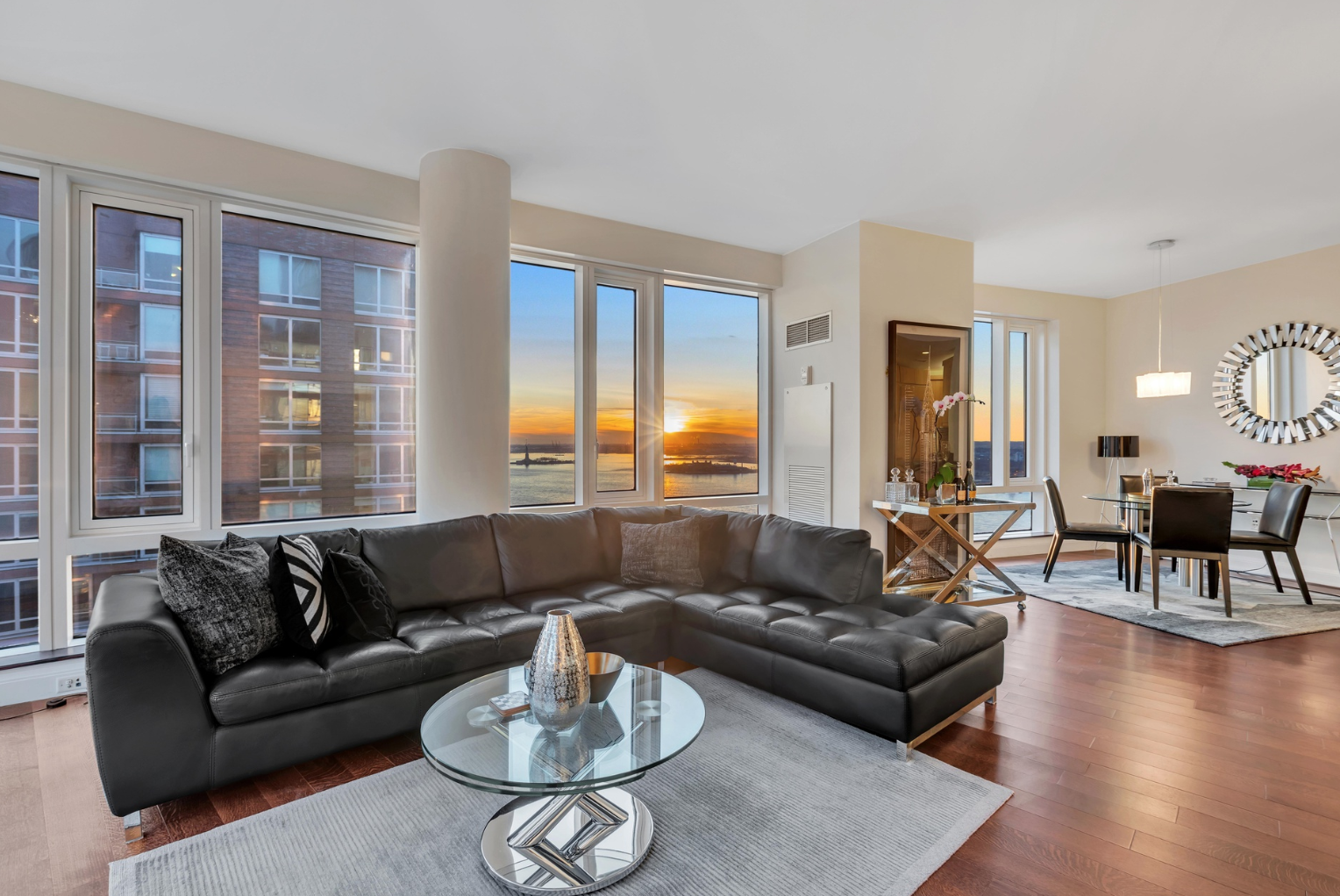 70 LITTLE WEST STREET, 32E - $3,495,000 // 3 Beds // 2.5 Baths // 1,681 SQFTA luminous corner condo set within the first building in NYC to attain LEED Platinum certification, this 3-bedroom, 2.5-bathroom home boasts pristine finishes and incredible views of the Hudson River and the Upper Bay. Features of the apartment include gorgeous hardwood floors, huge windows with eastern and southern, central heating and cooling, and a convenient in-unit washer/dryer.
